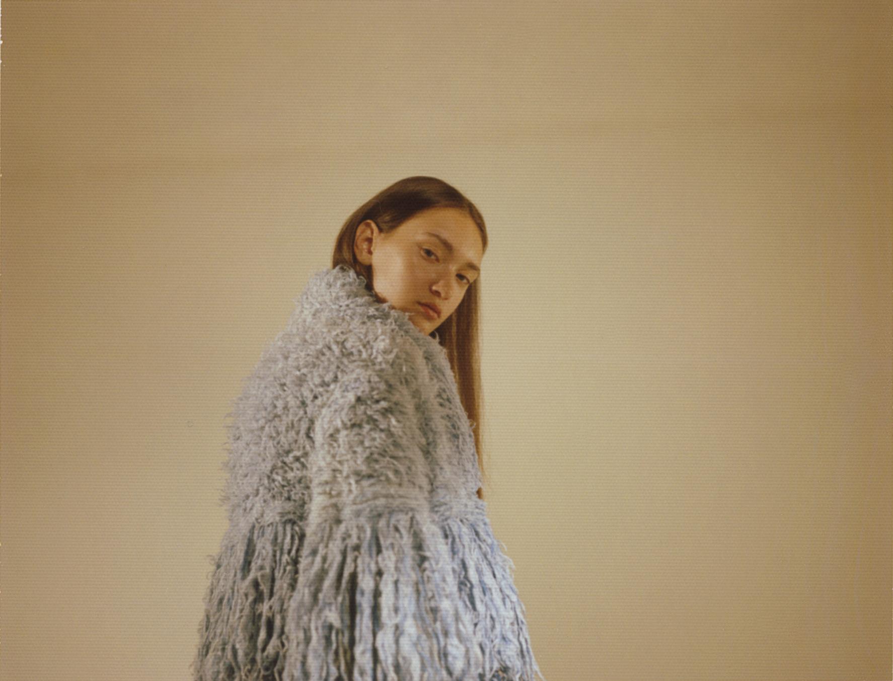 light blue fringed wool coat  VERTIGE