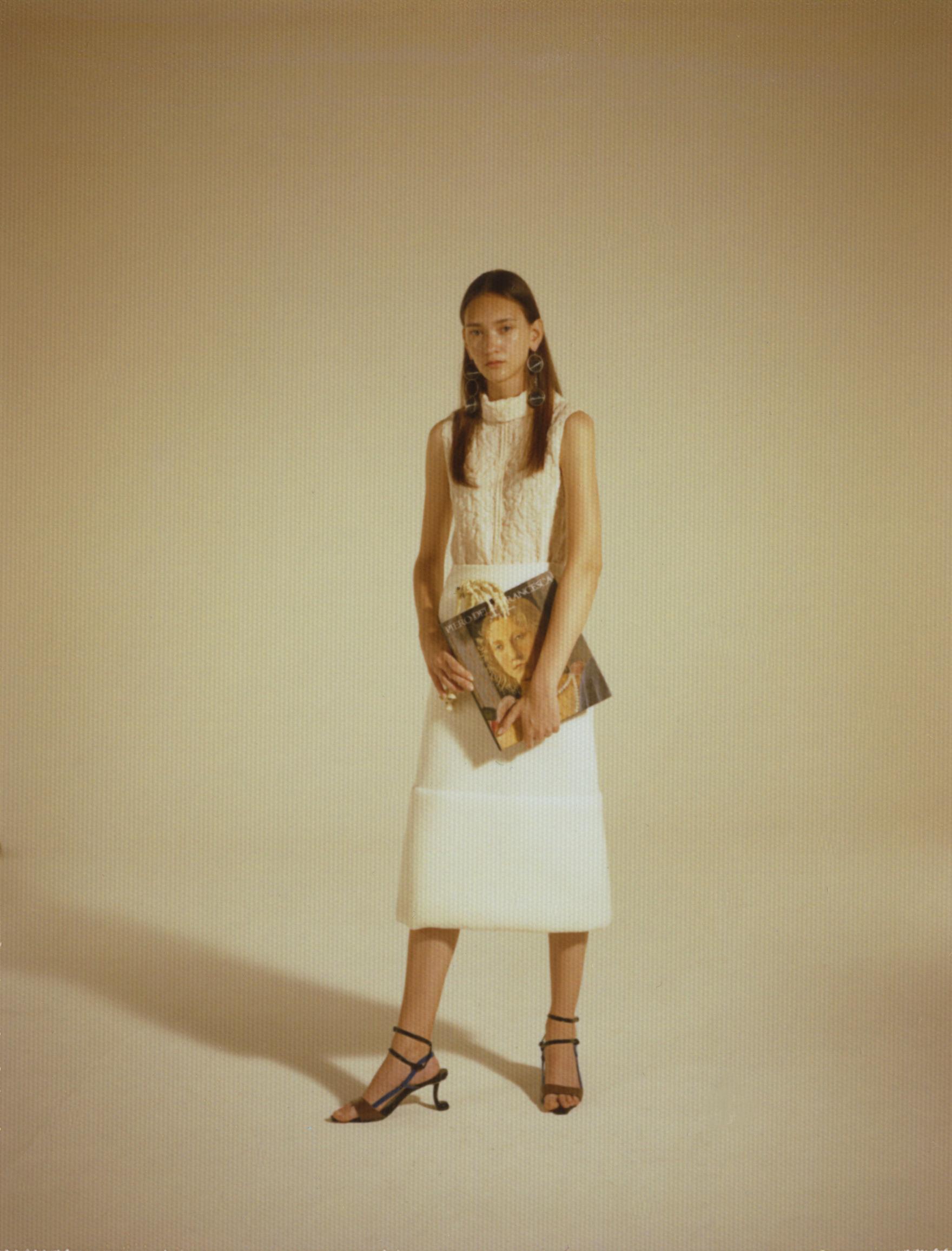 transparent earrings and yellow plain polyester top  MARNI white wool midi skirt  JIL SANDER multicolor plain leather sandals  MARNI