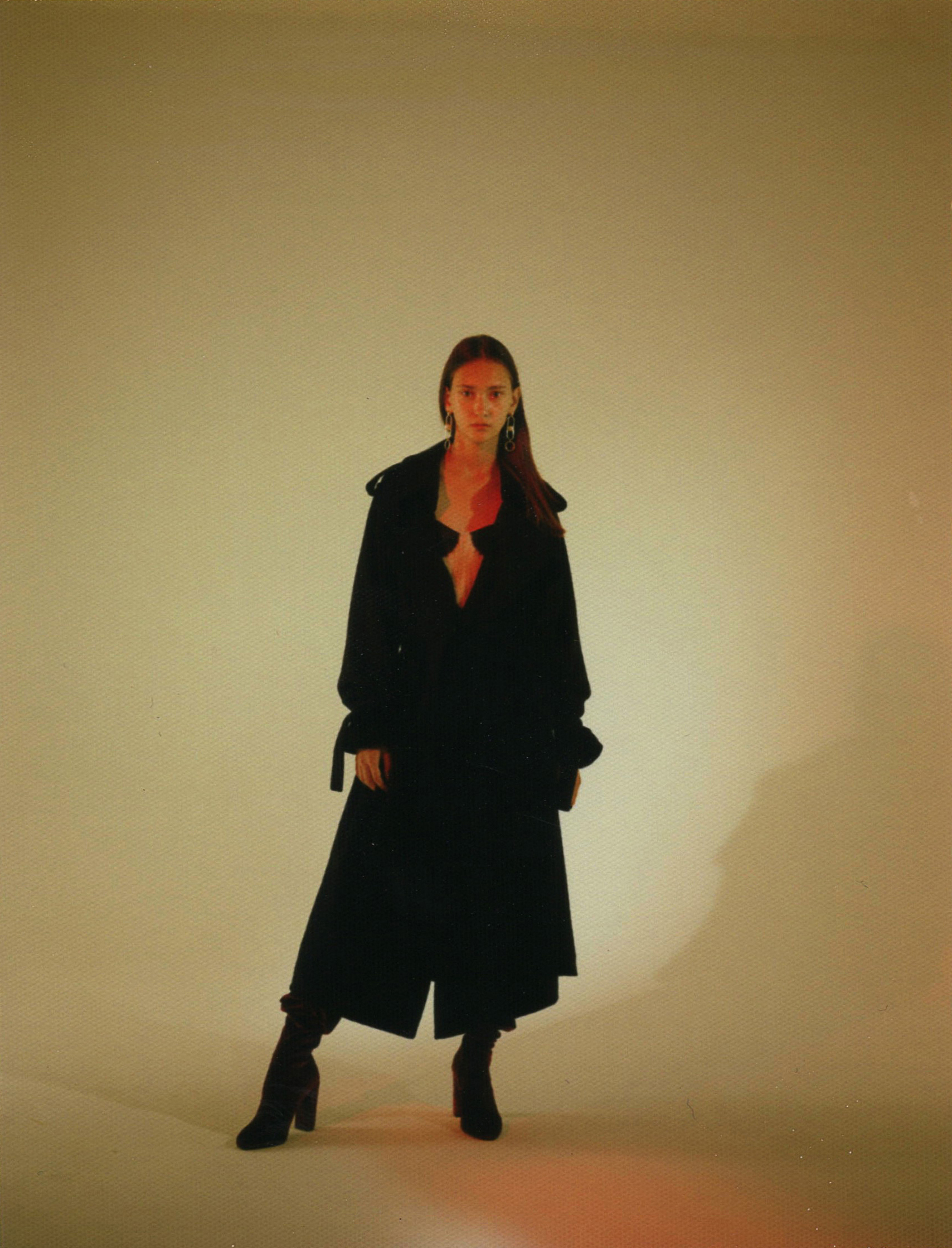 black wool trench coat  COMEFORBREAKFAST  strappy bodycon dress with pink fur detail  ALBERTO ZAMBELLLI  bordeaux suede over-the-knee boots STEVE MADDEN