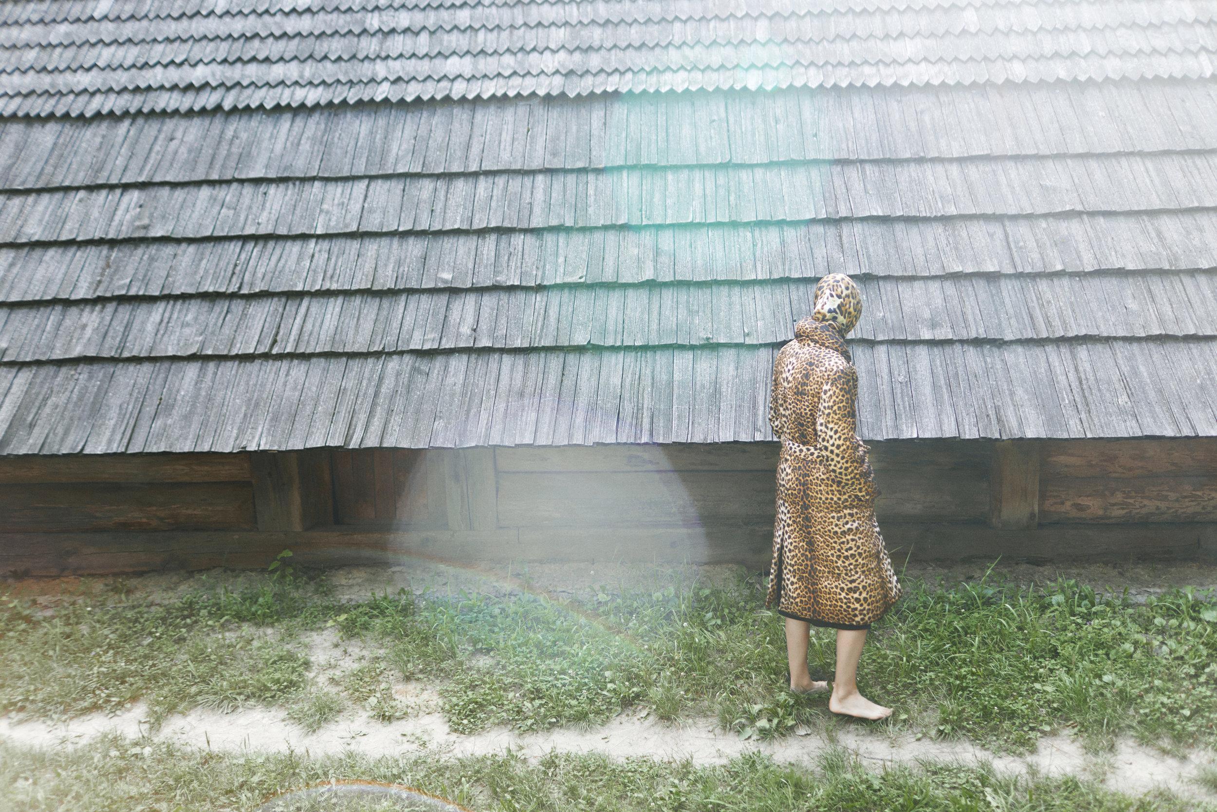 Coat Bevza Puffer, dress Jil Sander, scarf  Saint Lauren