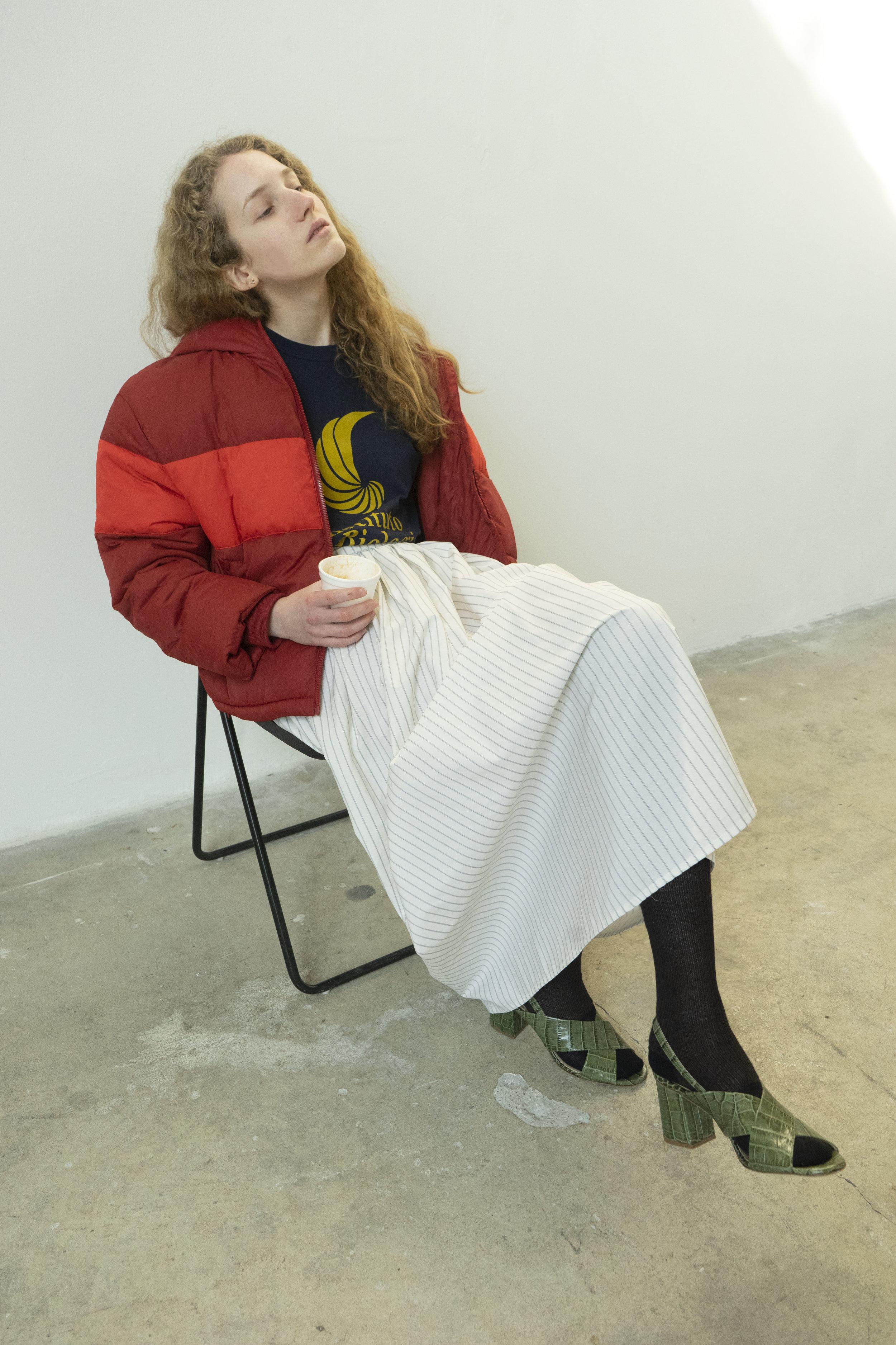 T.shirt: stylist own, cotton pinstripe skirt: Son Trava @aerestore, socks: Maria La Rosa, sandals: Fabio Rusconi