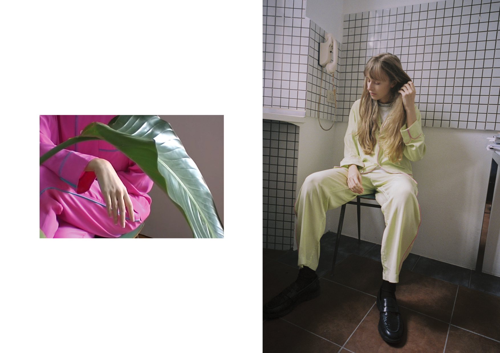 Silk nightwear shirt and trousers OLATZ, t-shirt and leather loafers stylist archive