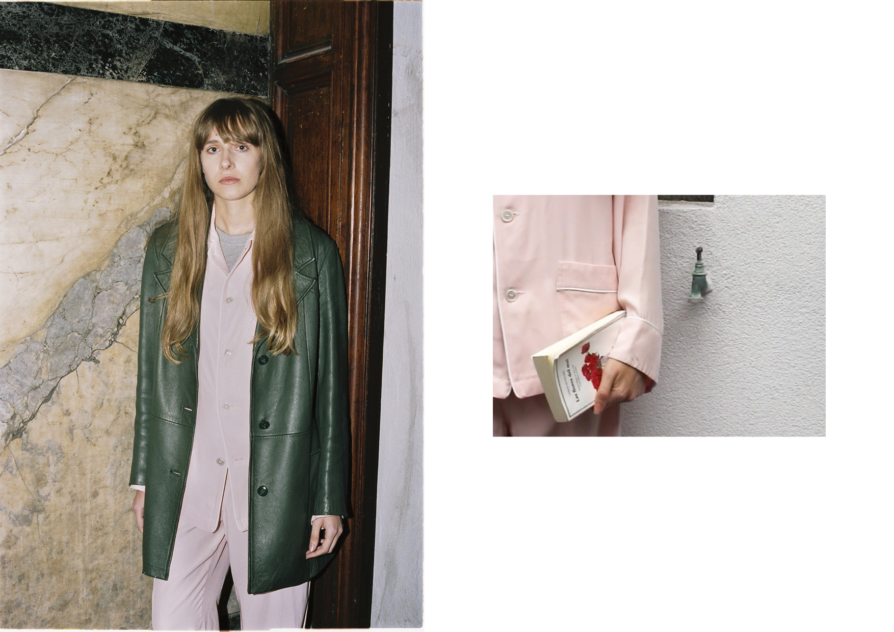 Silk nightwear shirt and trousers OLATZ, cotton t-shirt LEVI'S, green leather jacket stylist archive