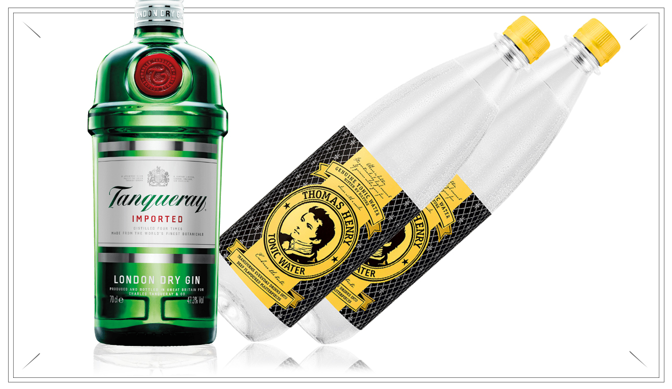 NO104 - T-Ray XL Pack - 1 x Tanqueray 0,7l Flasche2 x Thomas Henry 0,7l Tonic Water)29,95 €
