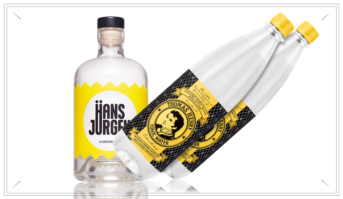 NO118 - Hans Jürgen Pack - 1 x Hans Jürgen London Dry Grin 0,7l2 x Thomas Henry 0,7l Tonic Water39,- €