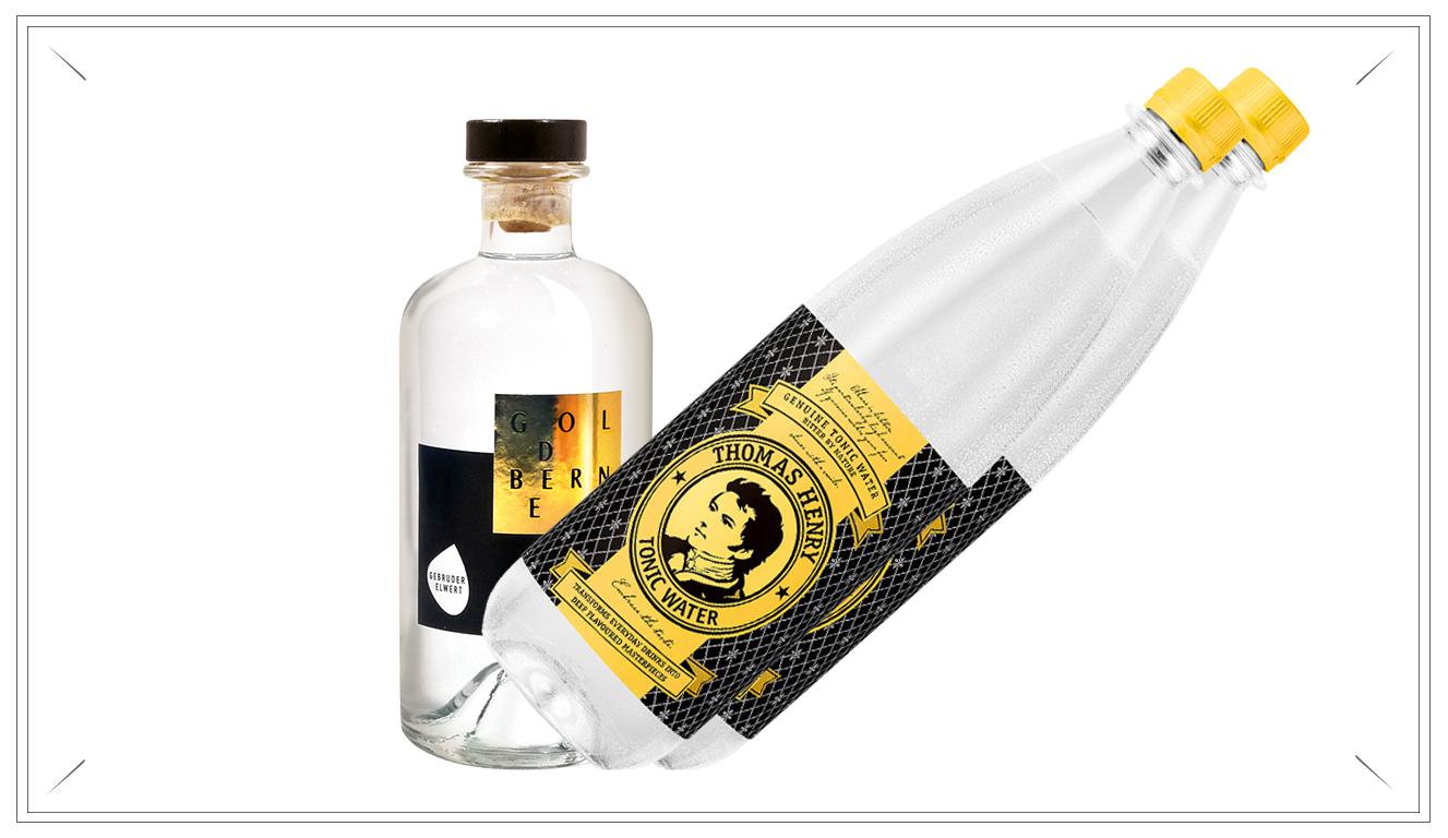 GE101 - POWER PACK - 500ml Goldberner - Dry Gin + 6 Thomas Henry Tonic Water (Preis p. Liter 59,90 € + 12,45€ inkl. Pfand 0,15€)39,90 €