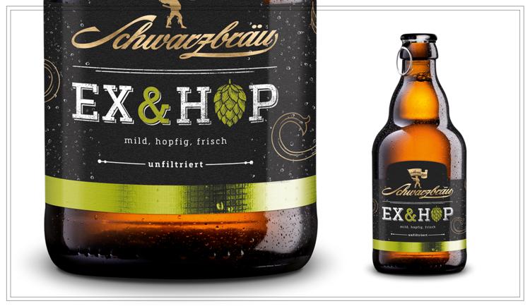 """SB108 - EX & HOP (0,33l) - Die bayerische Interpretation eines Pale Ales. Gebraut mit Malz aus eigener Herstellung. Untergärig, unfiltriert und kellerfrisch abgefüllt. Durch den Spalter Traditionshopfen """"Select"""" und die beiden amerikanischen Kulthopfen """"Simcoe"""" und """"Cascade"""" wird das Ex & Hop mild, hopfig und frisch.Alkohol: 5.4%Preis p. Liter 5,76 € (inkl. Pfand 0,08 €)Preis pro Flasche 1,90 € (inkl. Pfand 0,08 €) - SB108Preis pro Kasten 15,90 (zzgl. Pfand 3,10 €) - SB108a"""