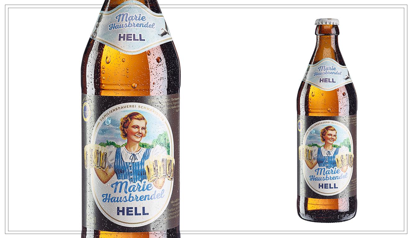 """SB109 - Marie Hausbrendel Hell (0,5l) - Die Geschichten von der Marie erzählt man sich heute noch und trinkt ein Helles ihr zu Ehren. Damit das noch besser geht, hat Enkel Leopold Schwarz seiner Großmutter jetzt ein eigenes Bier gewidmet - die neue Schwarzbräu """"Marie"""".Alkohol: 4,8% Preis p. Liter 4,80 € (inkl. Pfand 0,08 €)Preis p. Flasche 2,40 € (inkl. Pfand 0,08 €) - SB109Preis p. Kasten 18,90 € (zzgl. Pfand 3,10 €) - SB109a"""