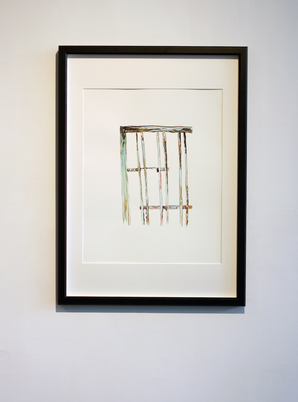 "Nagasaki Gate  , 2015, Sumi ink, mineral pigment on paper, 16x20"""