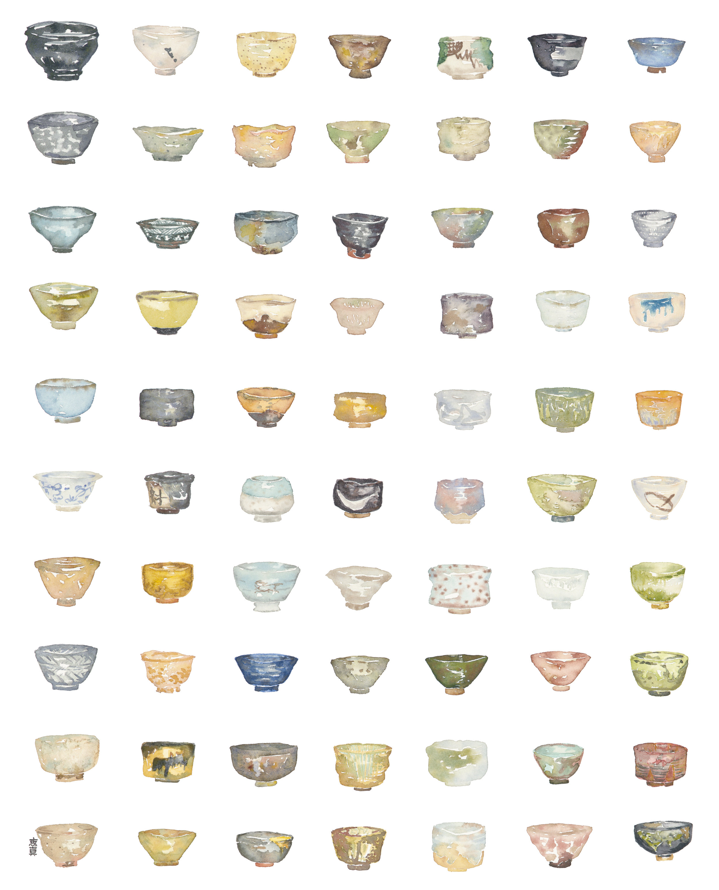 "Ochawan [16x20"" - $95]  giclee print of an original 16x20"" watercolor painting of 70 types of Japanese tea bowls of various regions."
