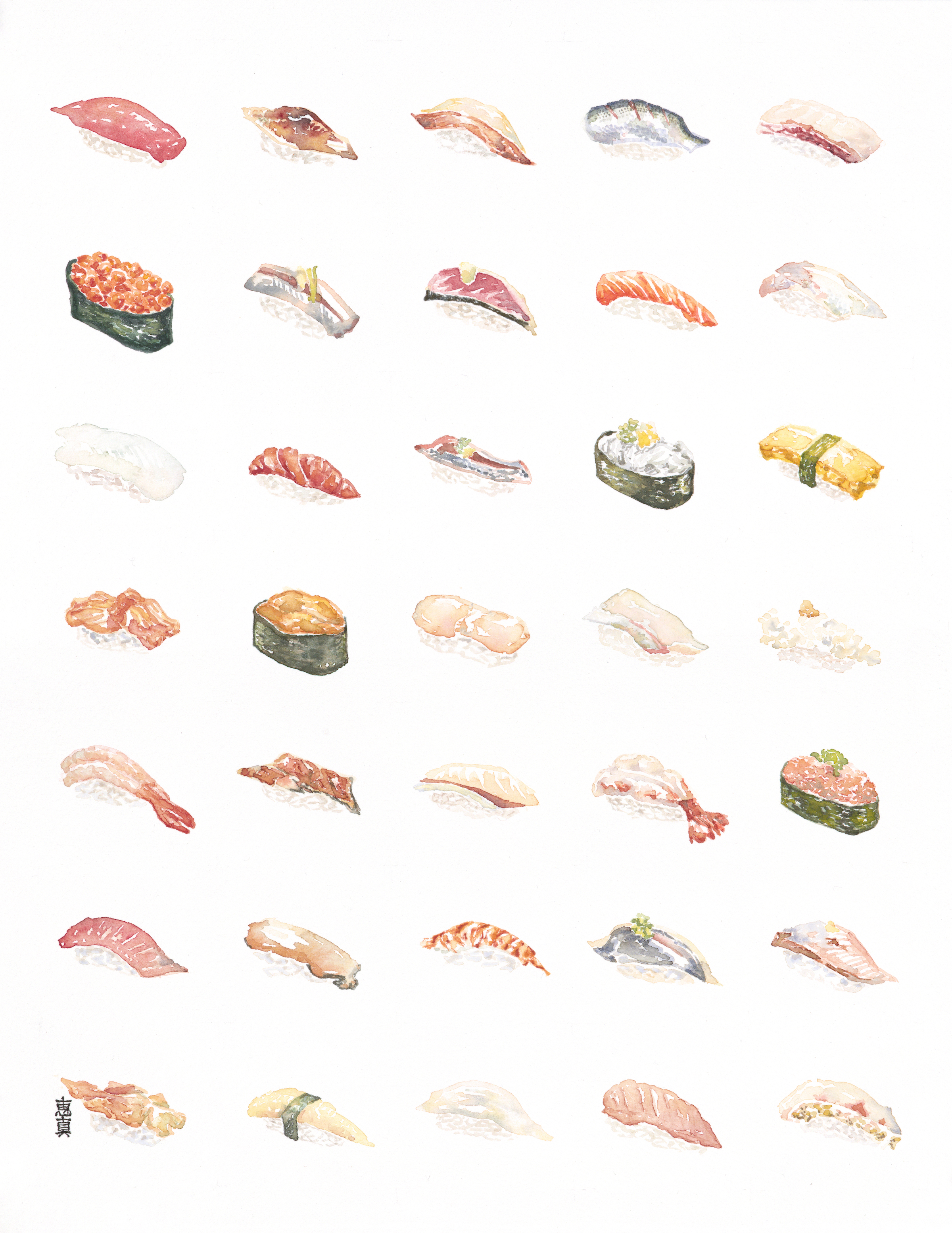"Nigiri [11x14"" - $80]  giclee print of an original 11x14"" watercolor painting of 35 types of nigiri sushi."