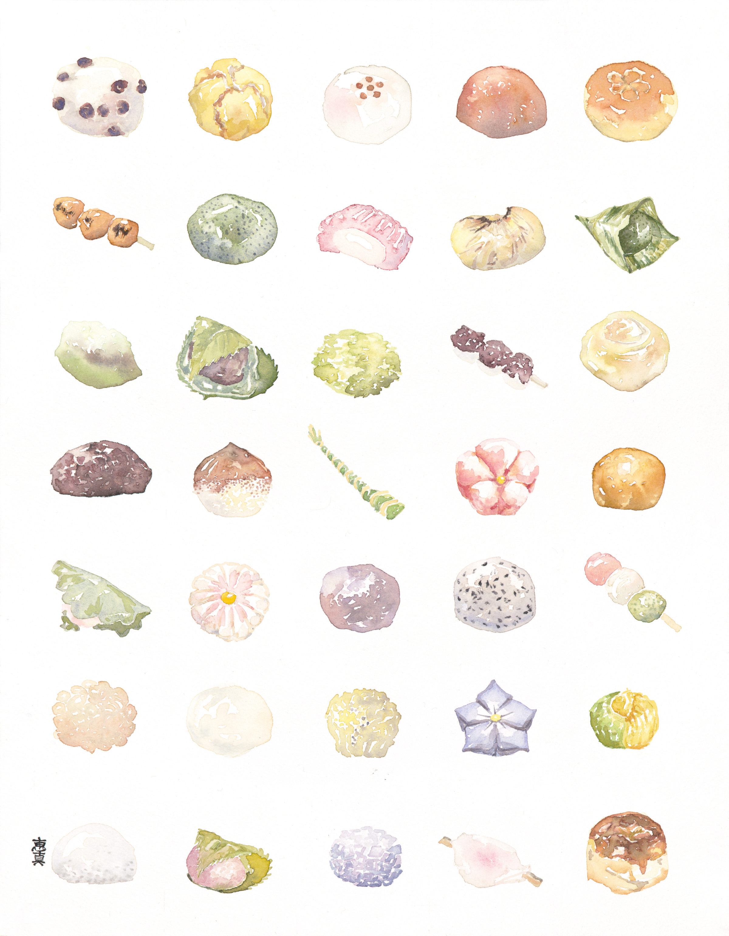 "Wagashi [11x14"" - $80]  giclee print of an original 11x14"" watercolor painting of 35 types of traditional Japanese confections."