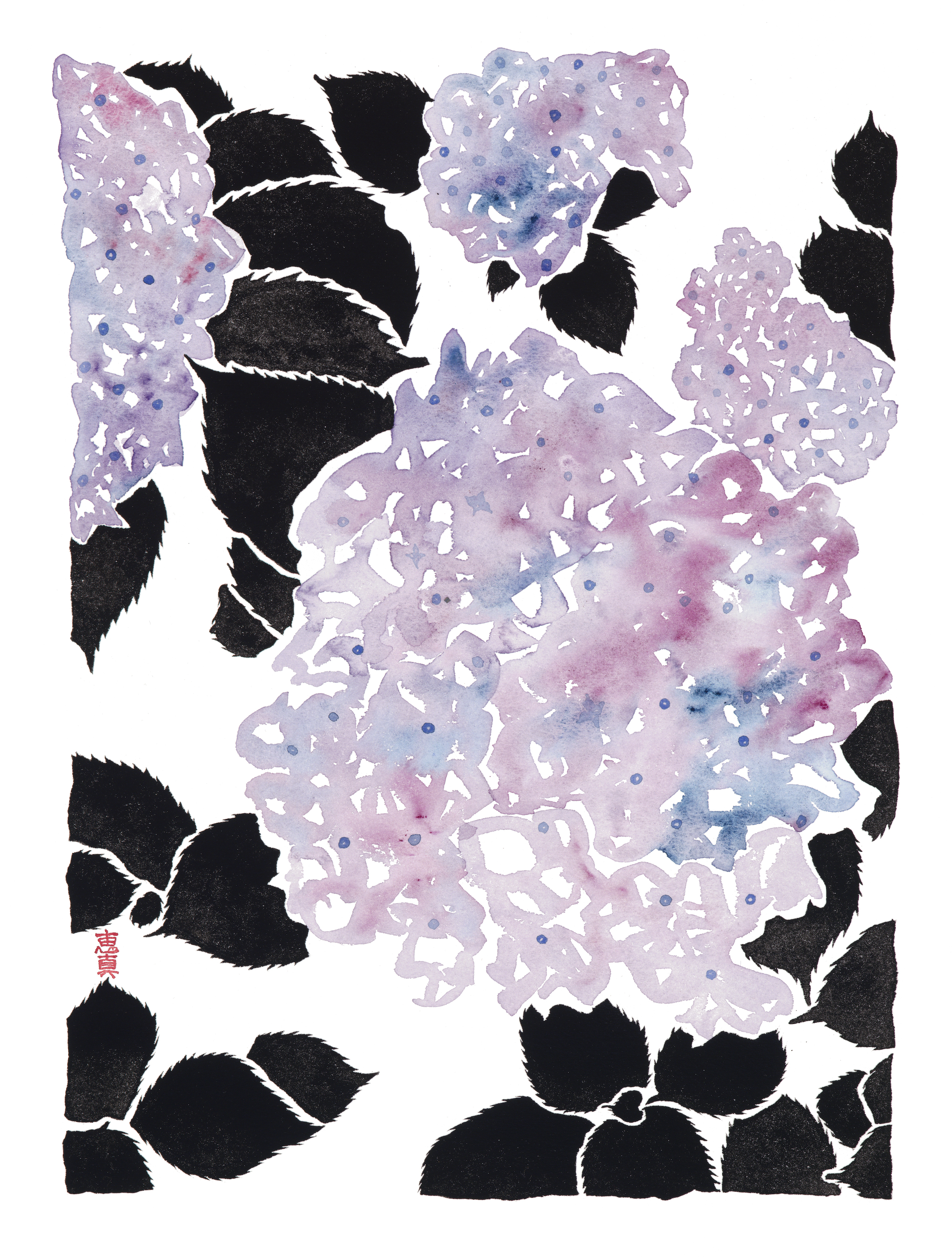"""Hydrangea 2 [11x14"""" - $80]  giclee print of an original 12x16"""" sumi ink and watercolor painting of hydrangeas in late spring in Tokyo."""