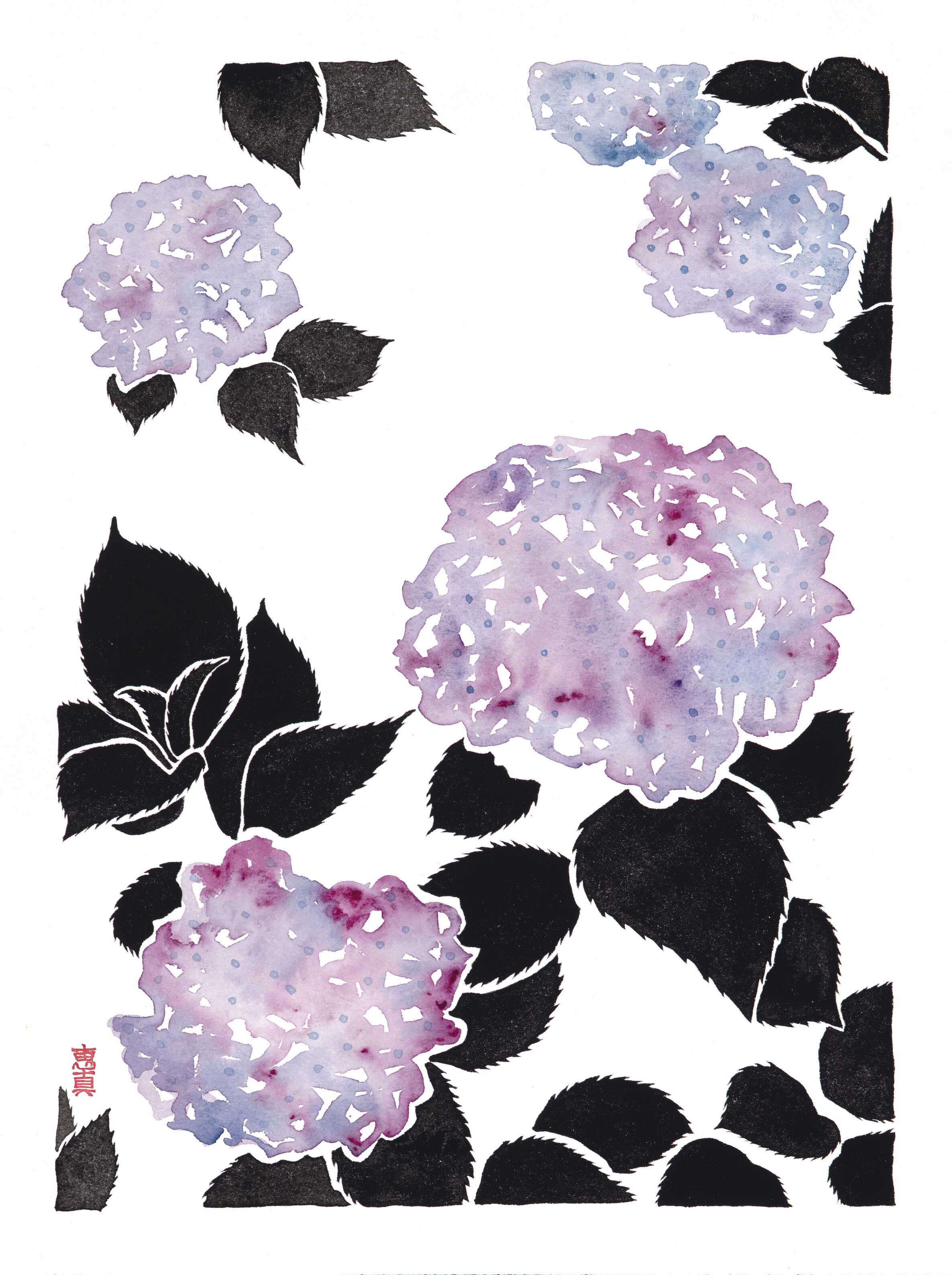 """Hydrangea 3 [11x14"""" - $80]  giclee print of an original 12x16"""" sumi ink and watercolor painting of hydrangeas in late spring in Tokyo."""