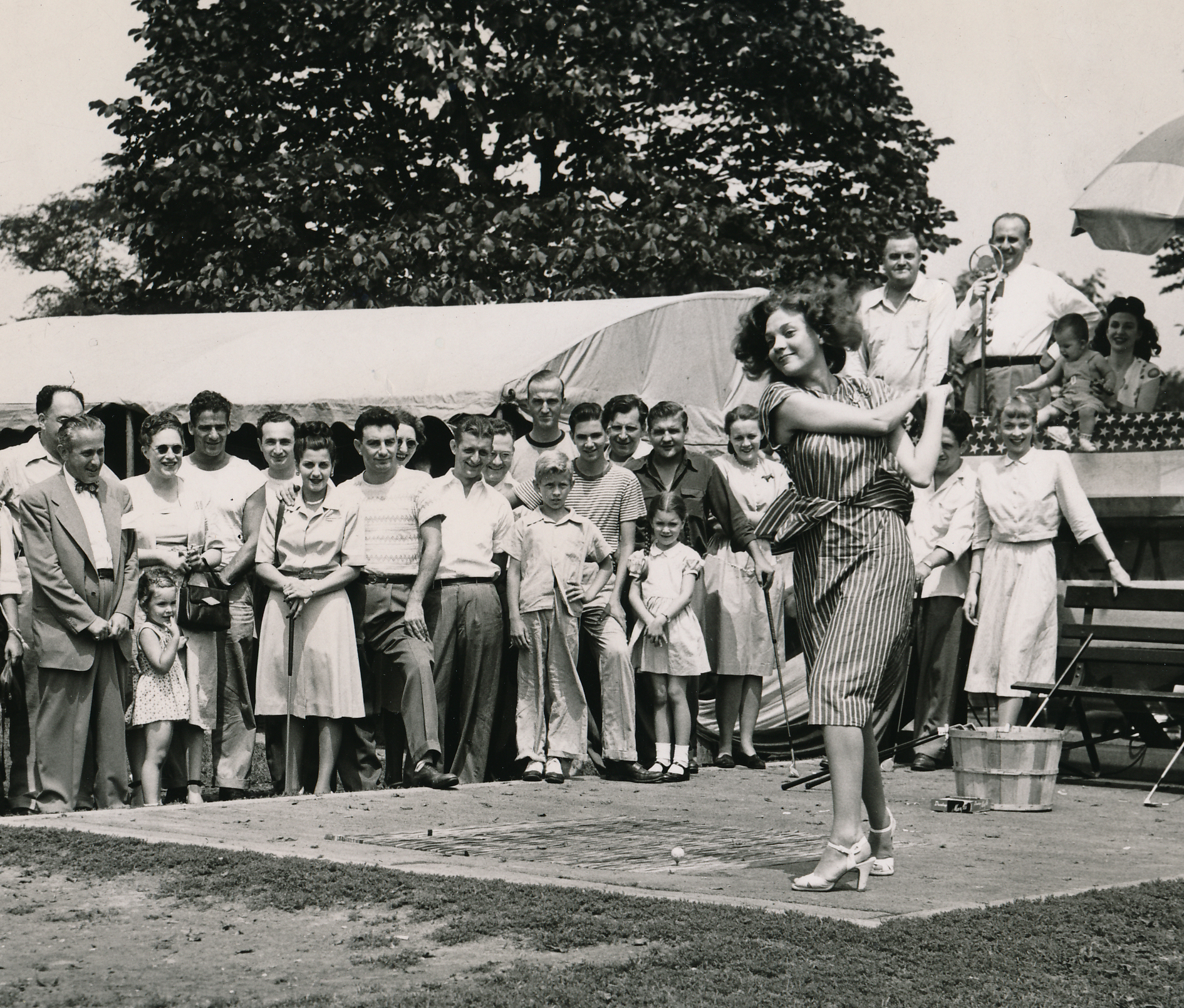 Barbara appearing in the 1947 Dapper Dan Celebrity Golf Tournament in Pittsburgh, when she whiffed her first tee shot.
