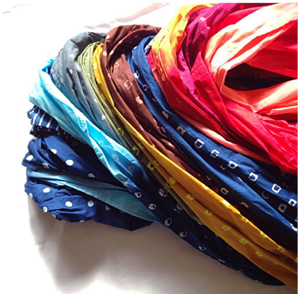 Hand dyed infinity scarves.
