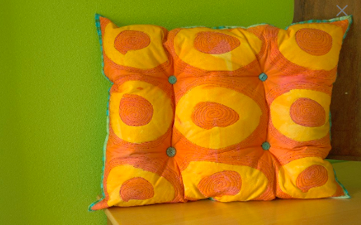 Had to laugh at this creation. Why did I make a tufted pillow out of some drawn hand dyes??