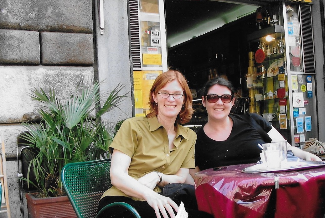 My mom is a  filmmaker  and she took me to a film festival in Rome about ten years ago. Here we are at a cafe enjoying the sunshine.