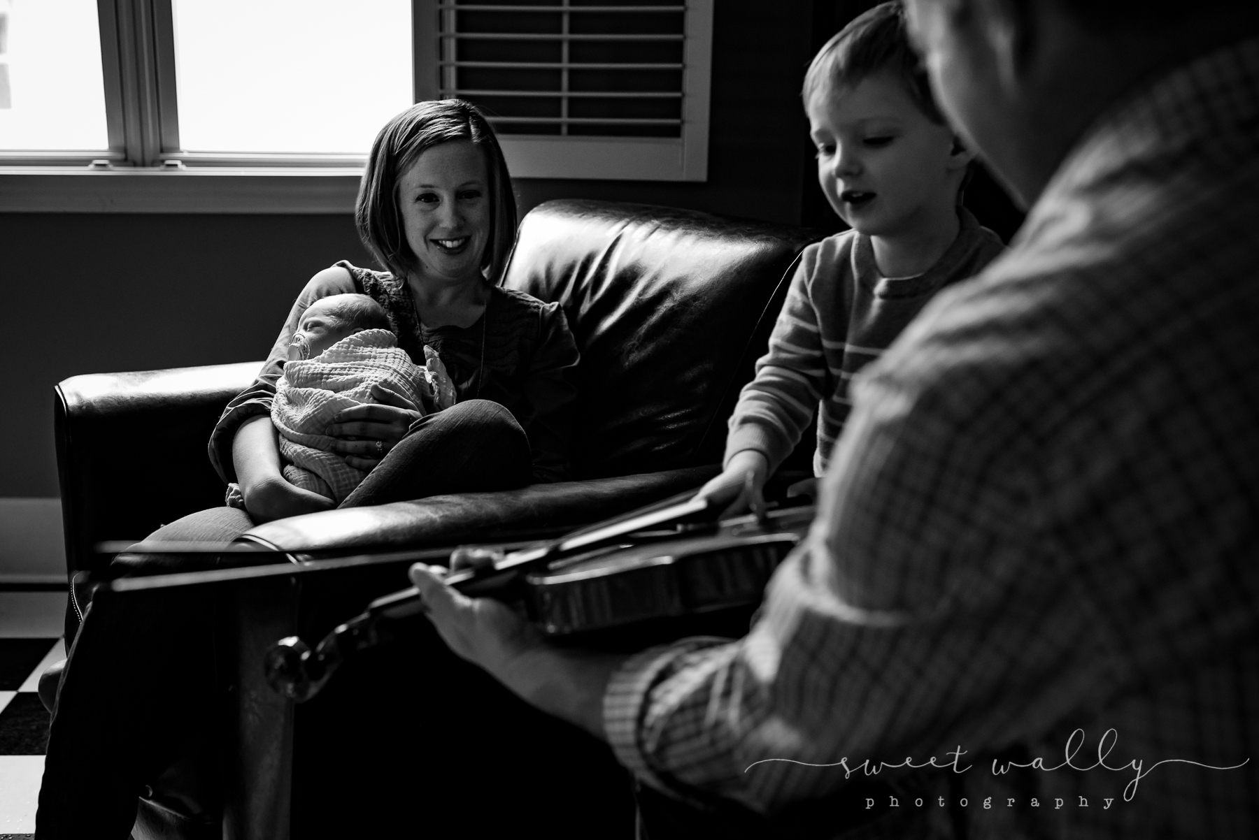 Baby brother's first fiddle lesson | Nashville Newborn Photographer | Sweet Wally Photography