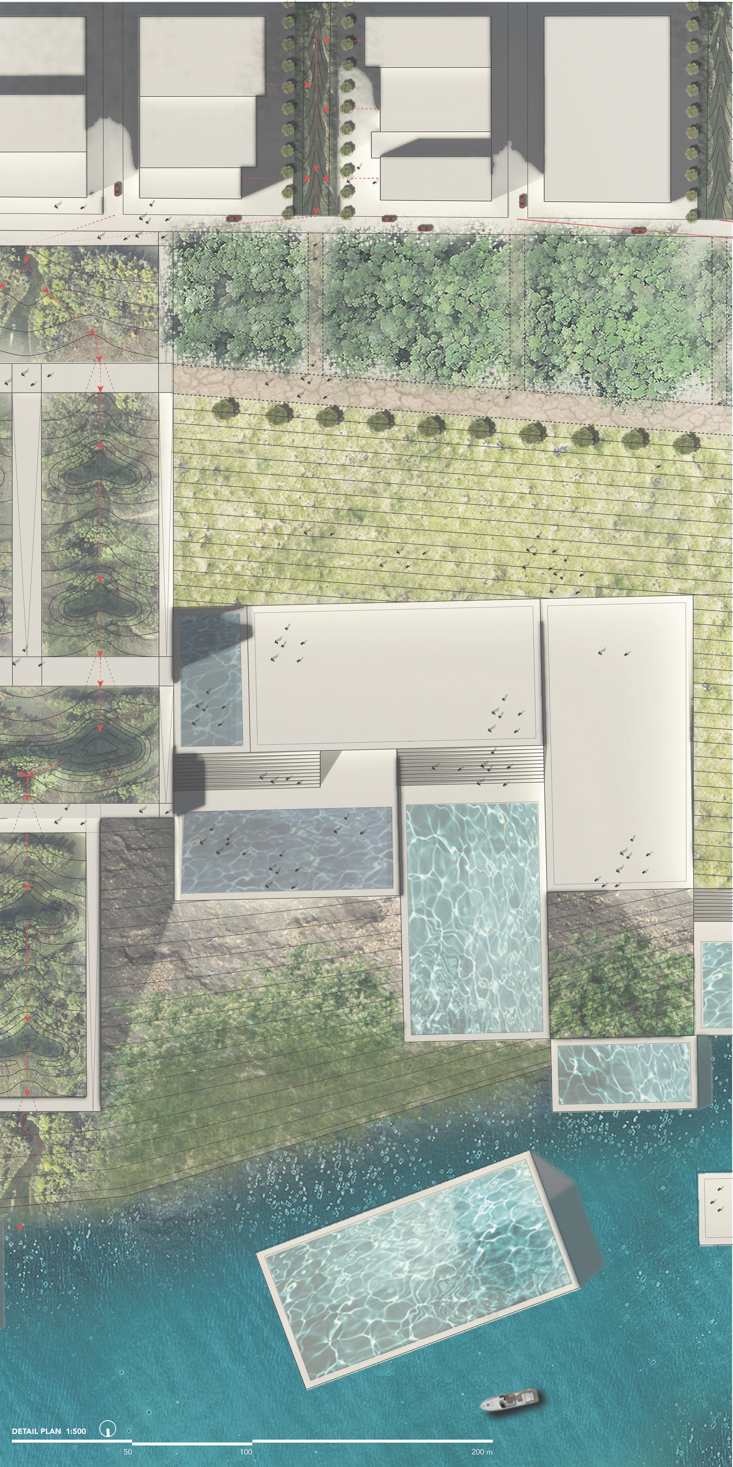 Detail plan showing the modular water programs that can be reconfigured based on specific needs, depending on the season