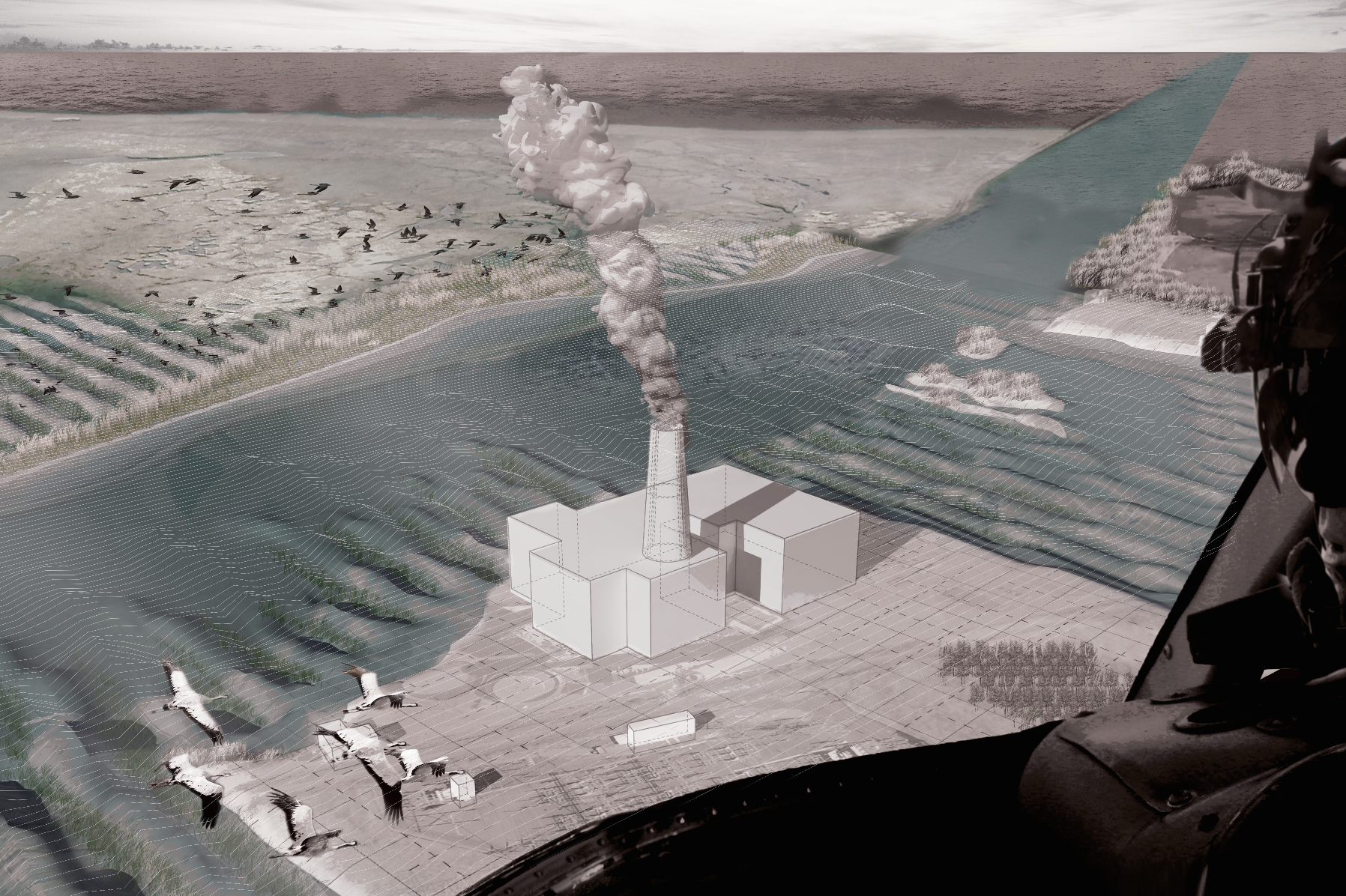 """Militaristic Aerial Perspective above the Cape Cod """"Canal"""""""