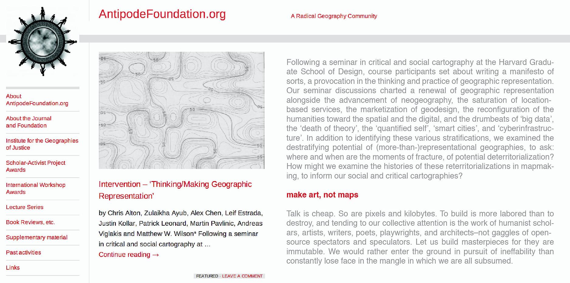 Intervention – 'Thinking/Making Geographic Representation' (Antipode Foundation)