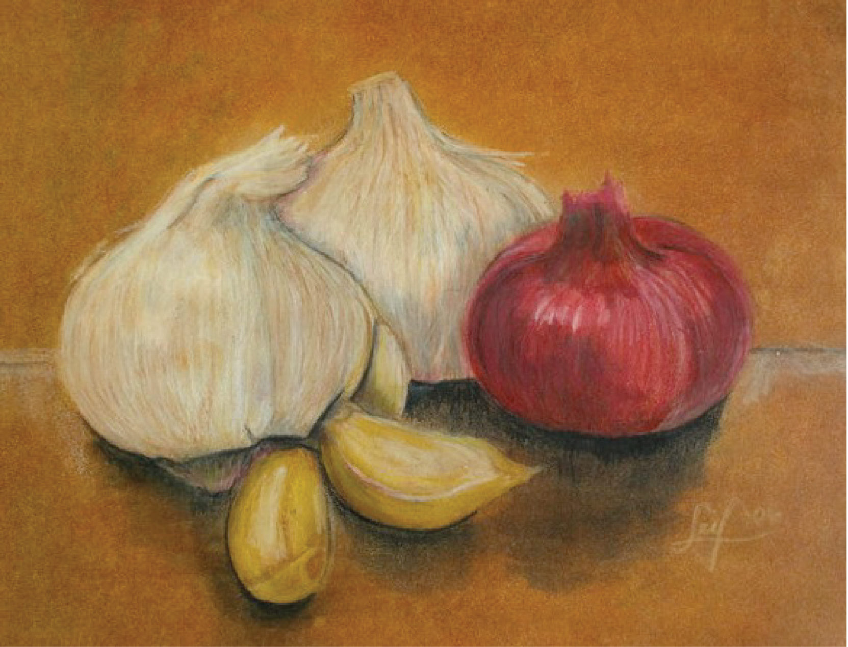 Roots (still life), mixed media: watercolor, ink, oils, and colored pencils, 2006