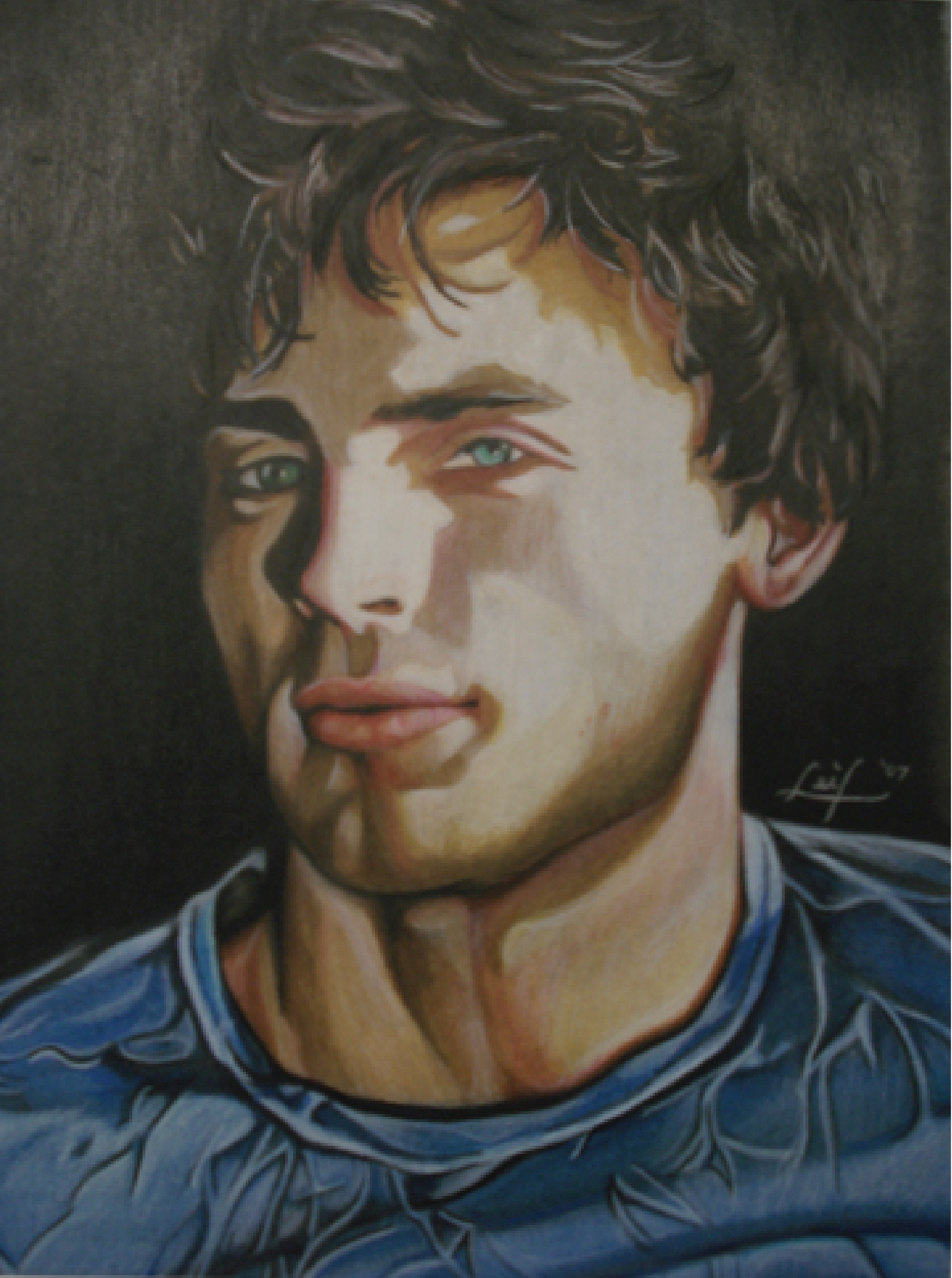 Tom Welling, mixed media: watercolor, ink, oils, and colored pencils, 2006