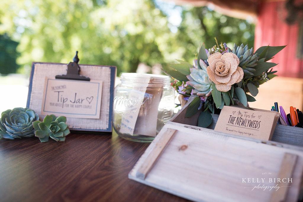 Succulents and Wedding Tip Jar