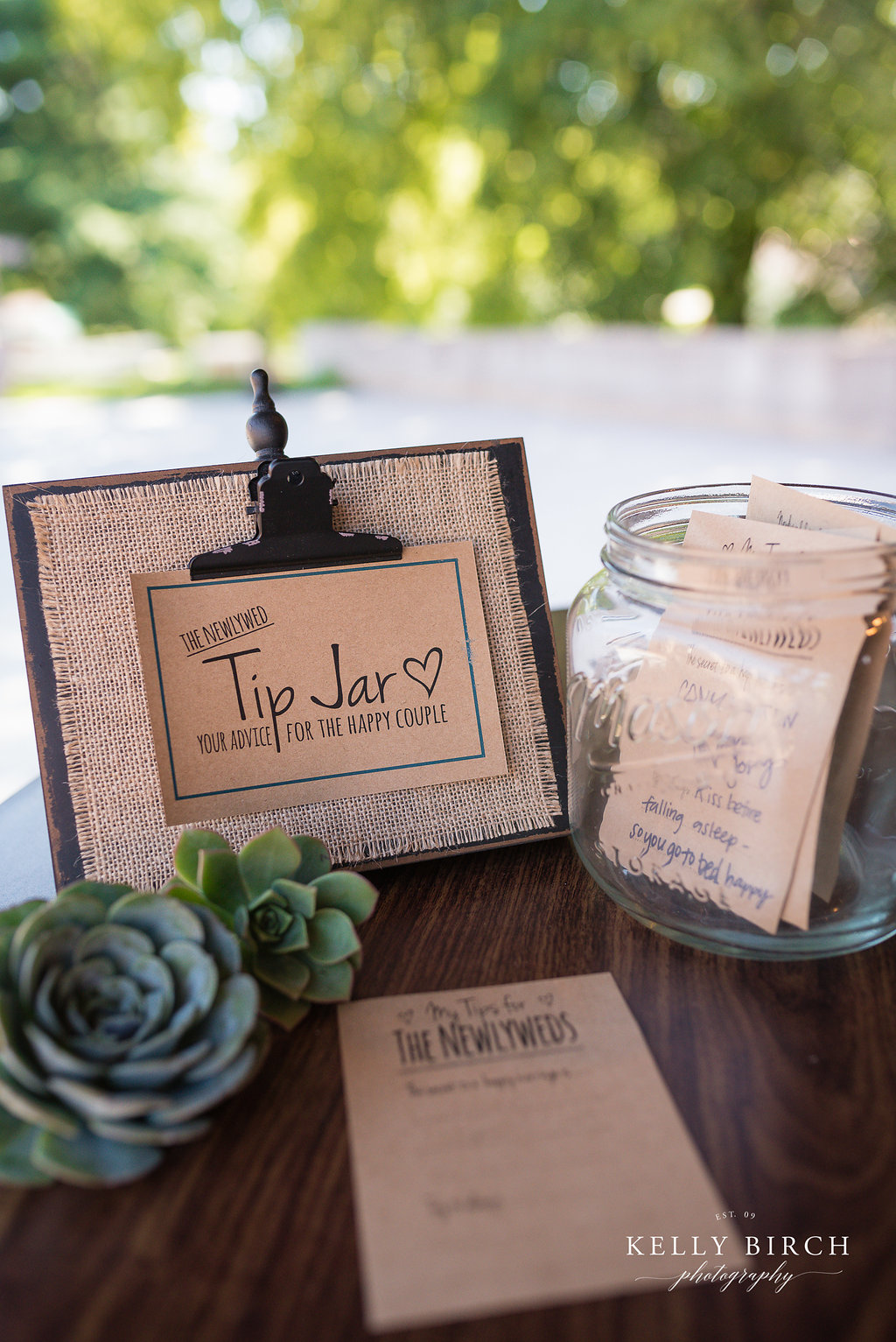 Wedding succulents as decor - wedding tip jar for advice for the new couple