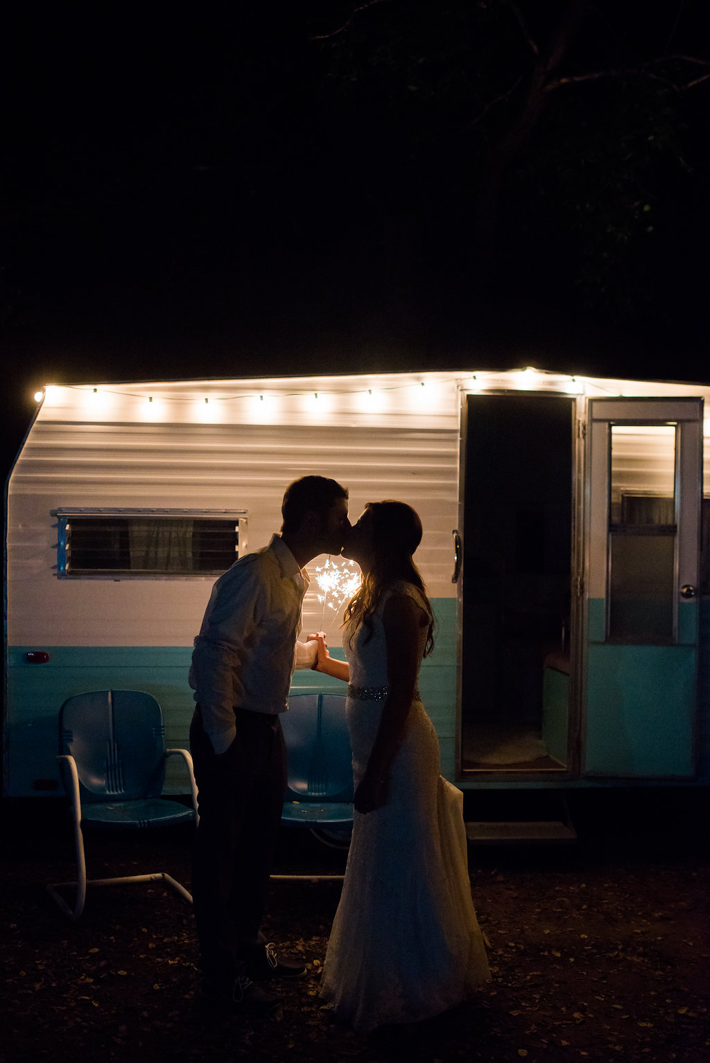 Sparkler wedding kiss | Kelly Birch Photography