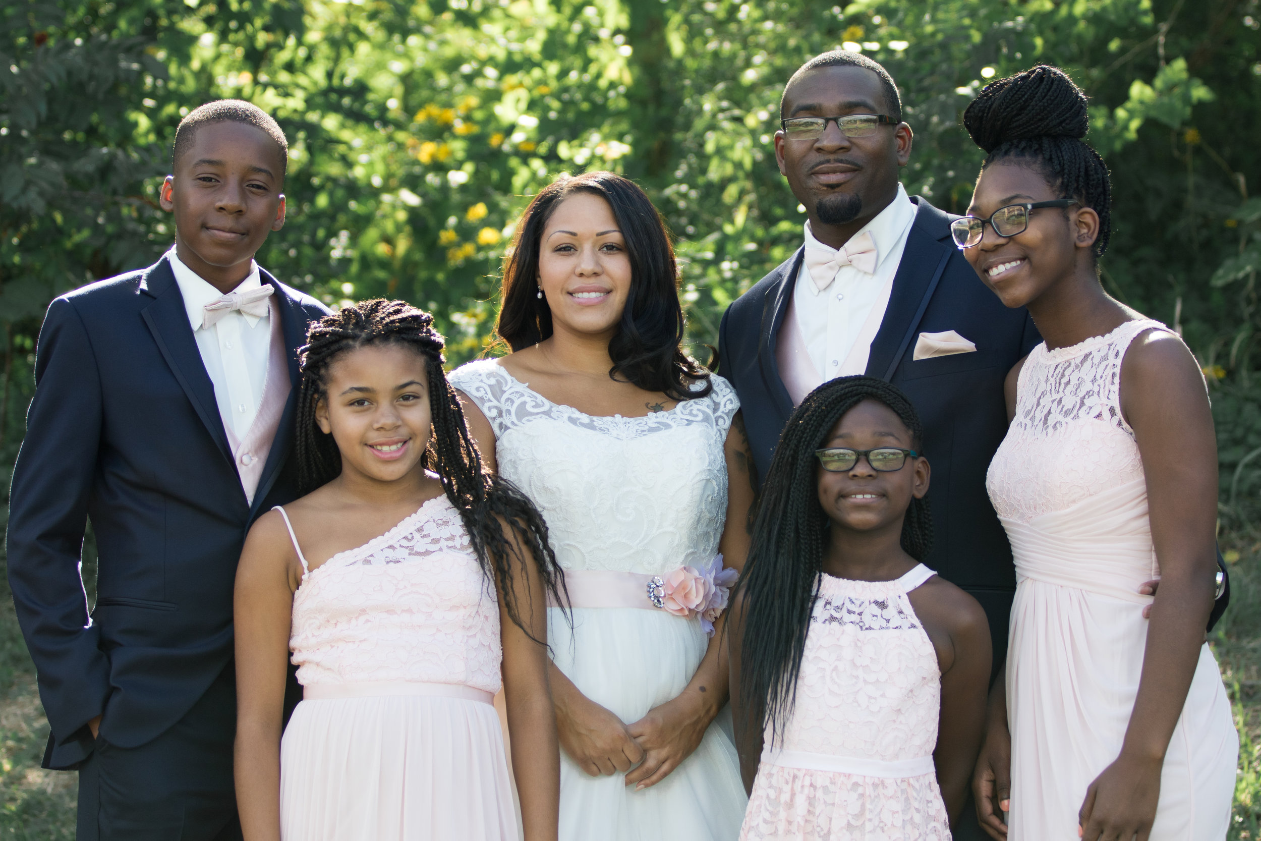 Blended family, wedding with light pink and navy | Photo by Tigerlily Photography
