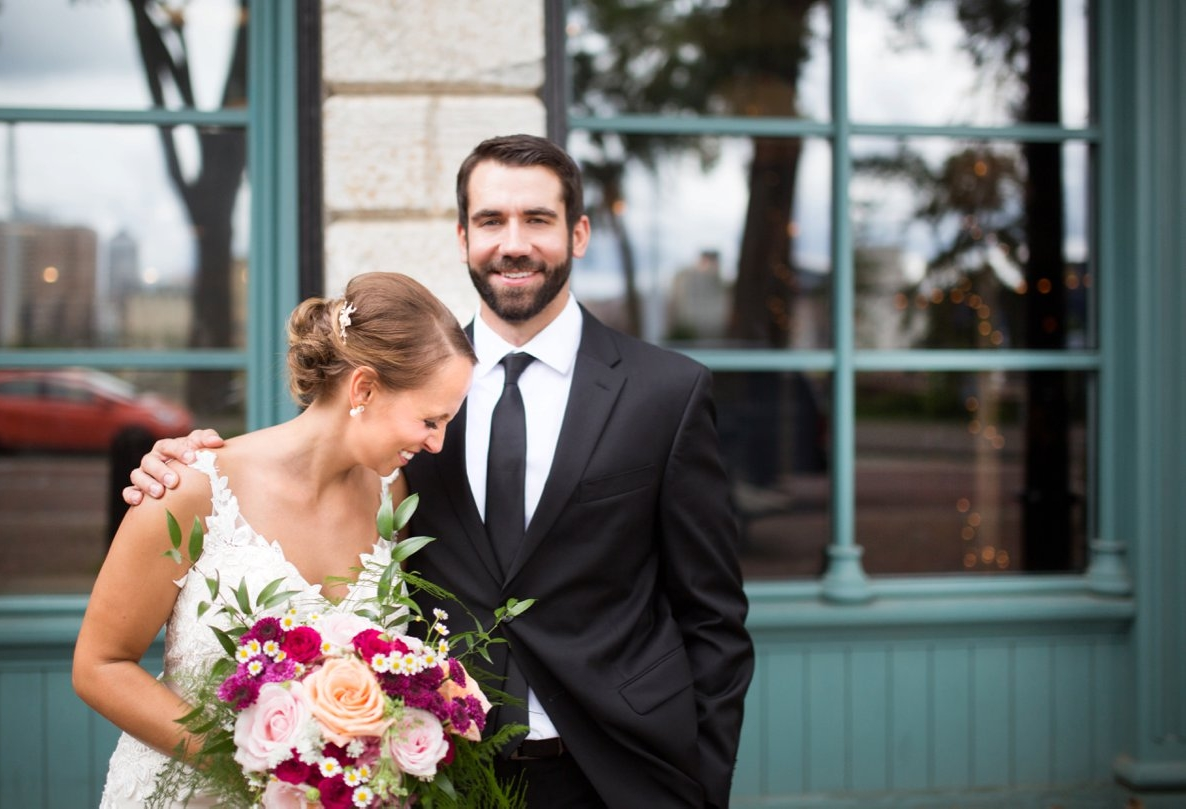 bride and groom portraits in front of window | Studio KH | Sixpence Events & Planning