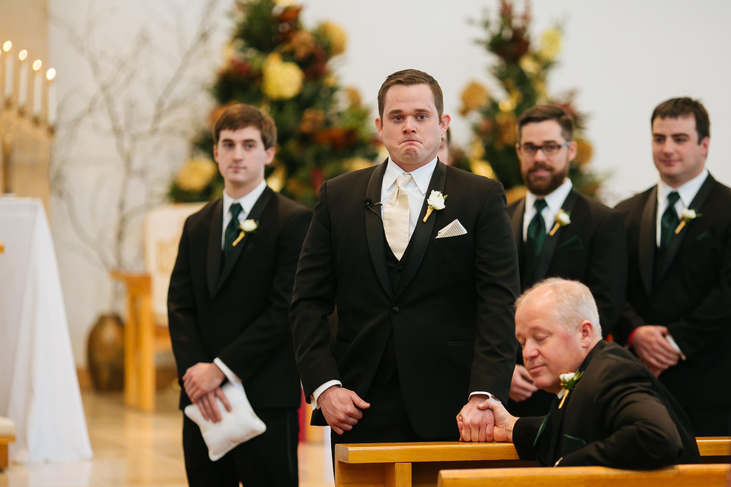 Alyssa Lee Photography | groom waiting for the bride at the altar holding dad's hand | Sixpence Standard Minneapolis wedding blog