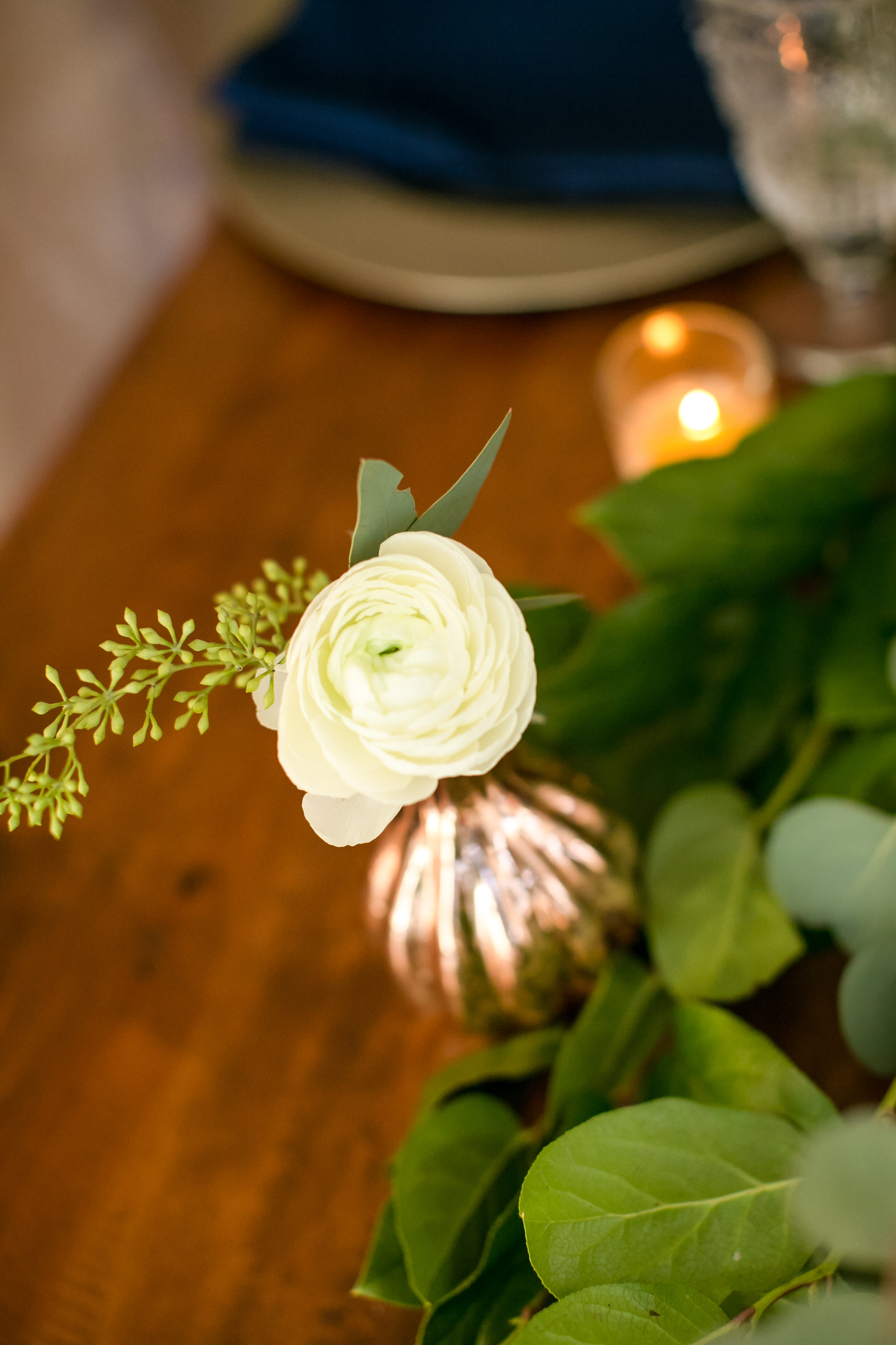 Jeannine Marie Photography | We've Got it Covered | Bel Fiore | Sixpence Events & Planning table styling for wedding, harvest table with gold chargers and navy napkins