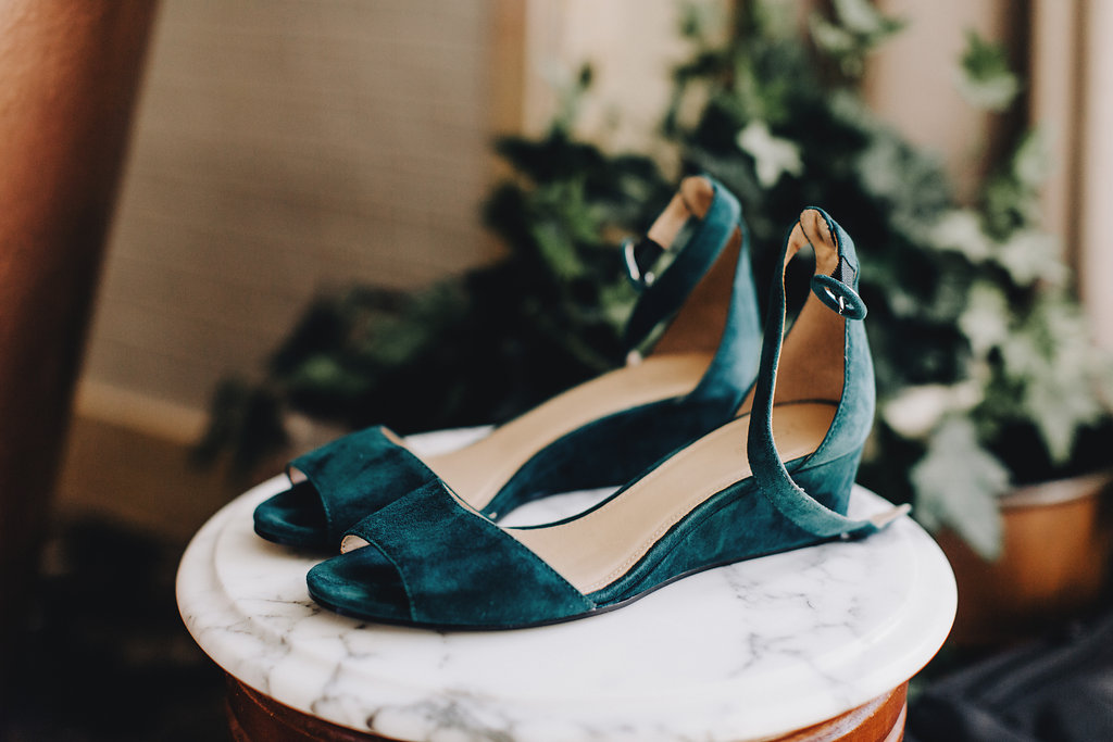 emerald green wedding shoes, peep toe with ankle strap, small wedge heel | Acowsay Videography | Matt Lien Photography | Sixpence Standard Wedding Blog