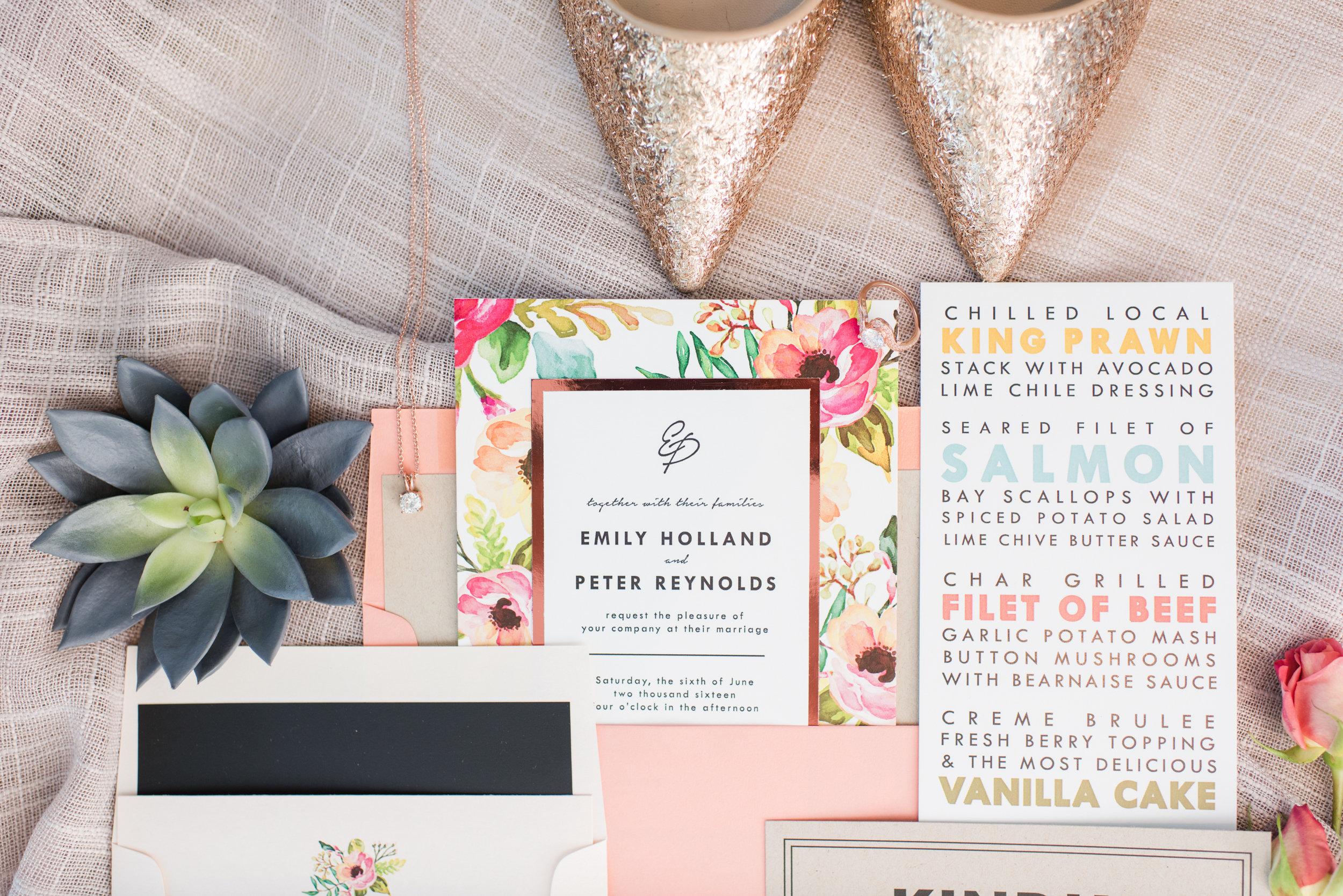 Blog by Sixpence | salmon, blush, light blue, orange, sage invitation suite