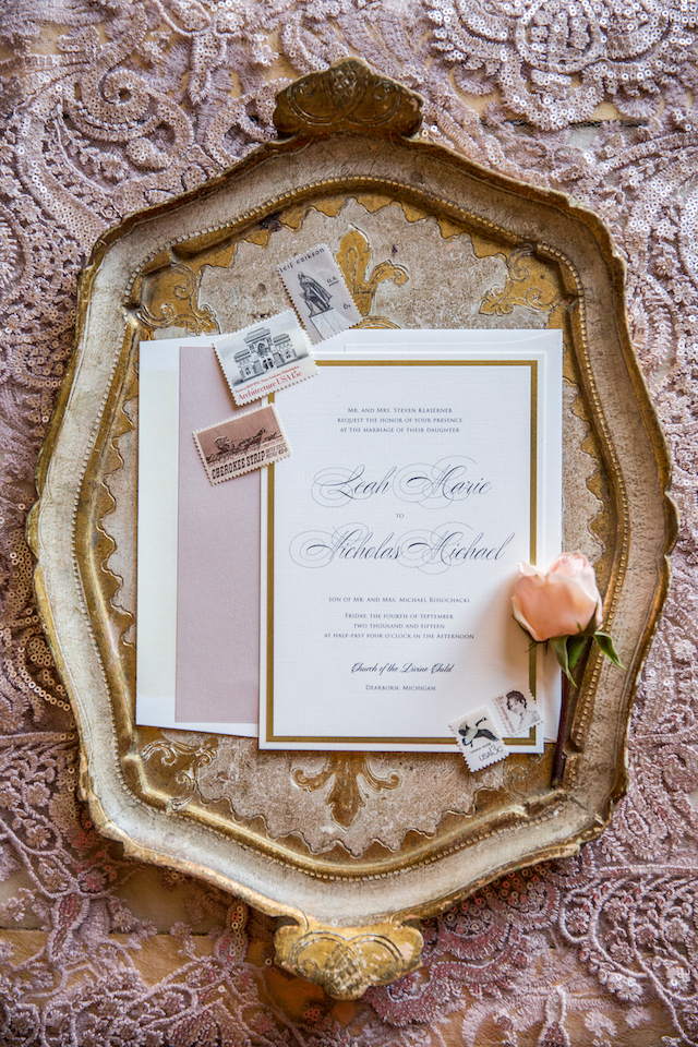 antique stamps | rose gold, dusty pink and gold on antique platter invitation with envelope insert
