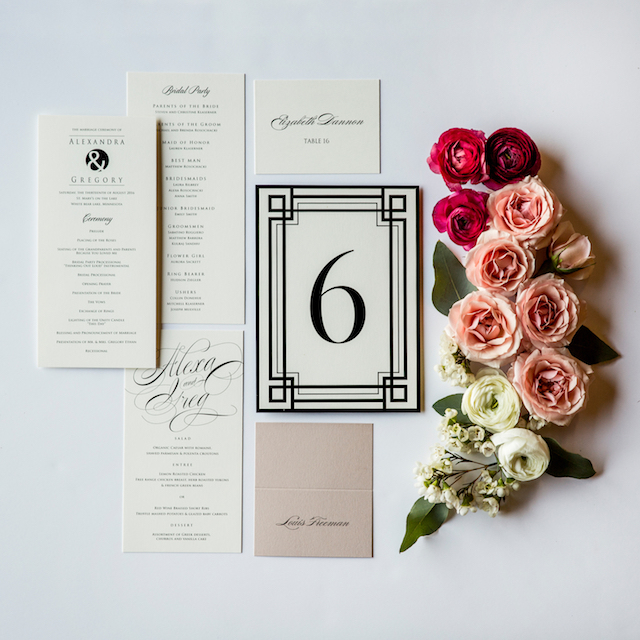 Champagne Press Programs with art deco feel and an ampersand | blog by Sixpence Events Midwest wedding planner