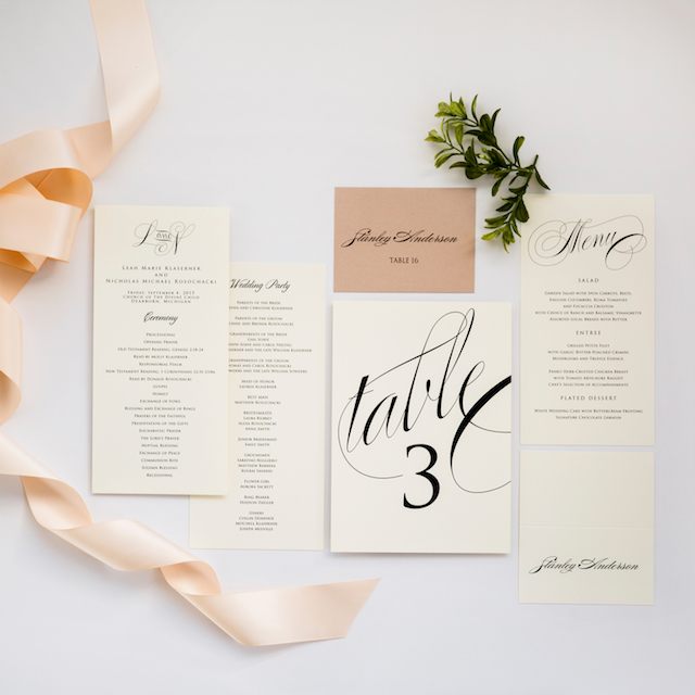 Champagne Press Wedding Programs, table numbers and place cards | wedding blog
