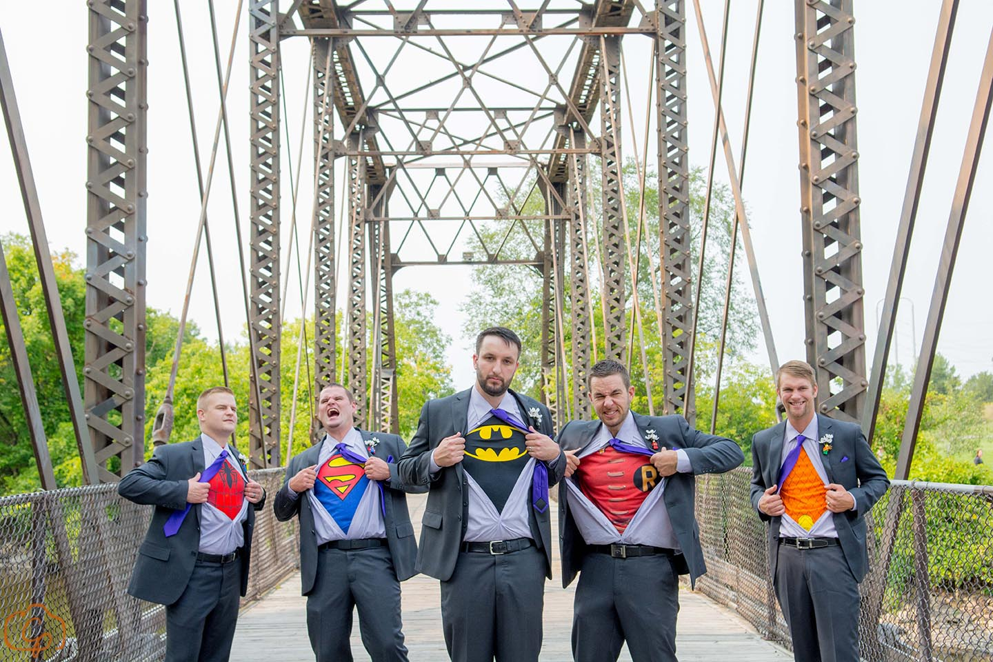 Superhero shirts under the groomsmen button downs | Coppersmith Photography | Minneapolis wedding blog by Sixpence Events