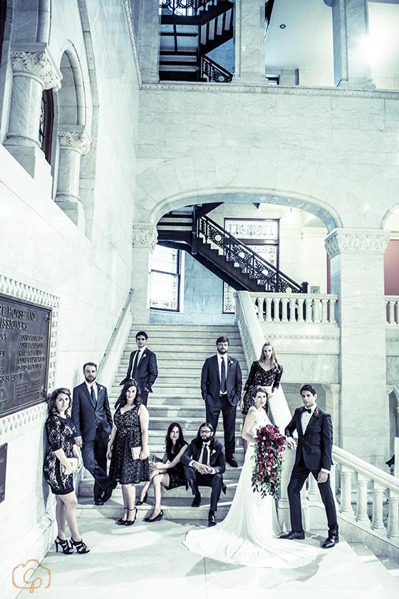 Bridal party photo on the stairs | Coppersmith Photography