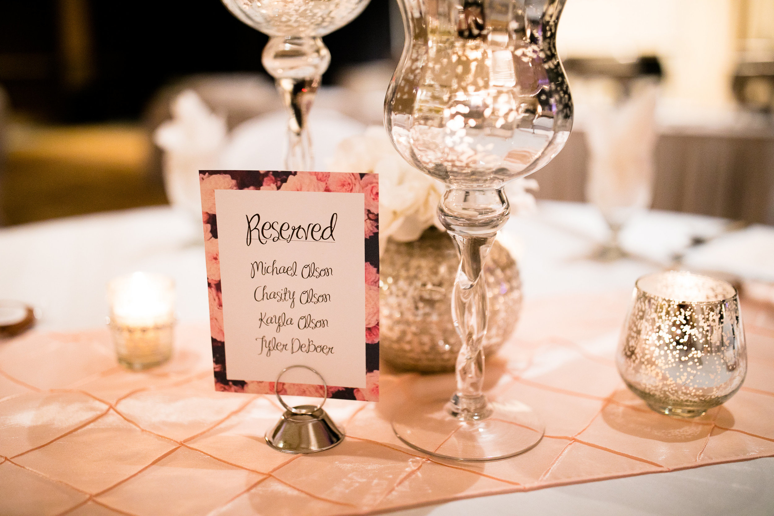 Alice HQ Photography | Reserved table signs | Everly Lace mercury glass candle holders and votives | Verizon Wireless Center | Sixpence Events Day of Coordinating
