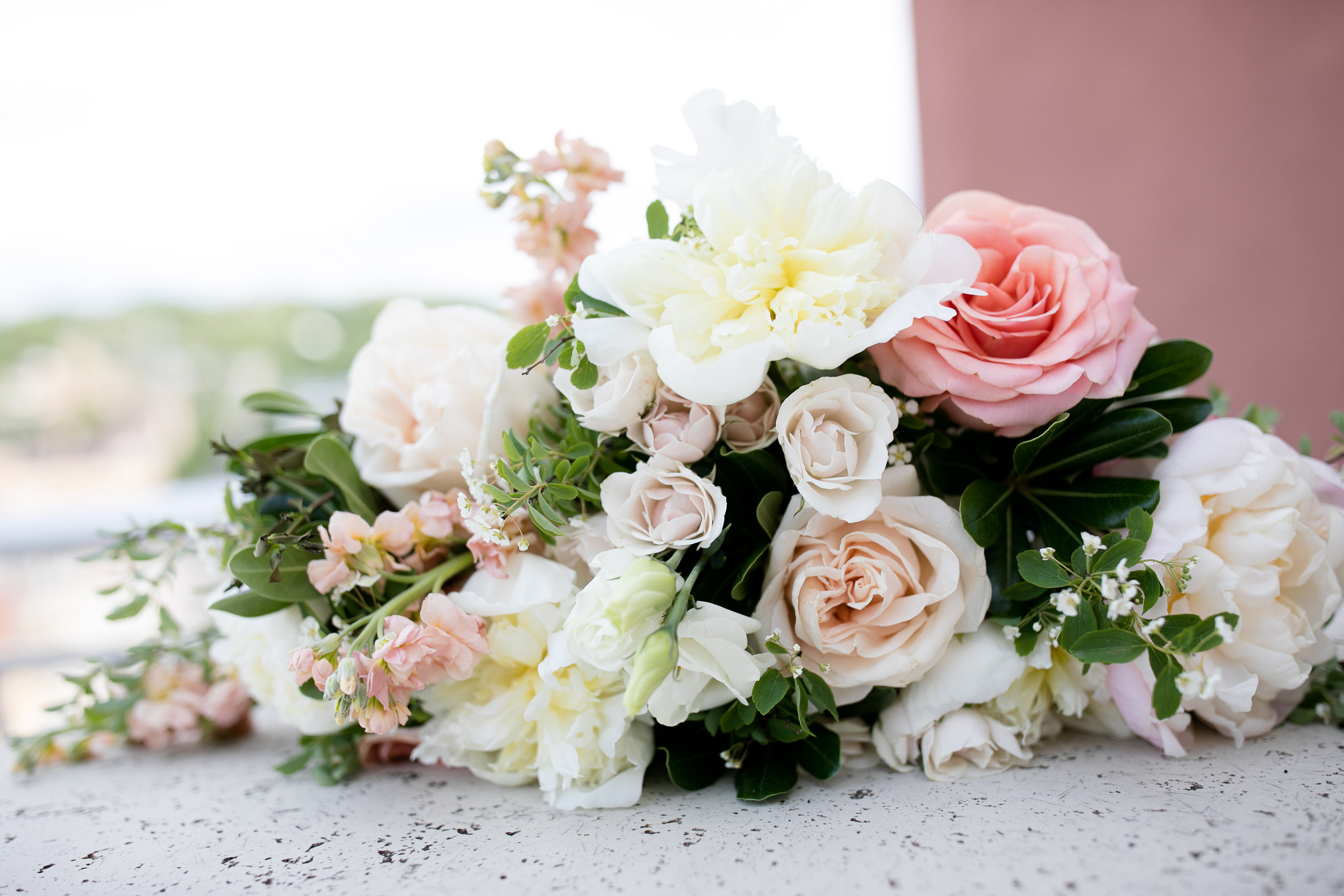 Budding Creations wedding bouquet | Alice HQ photography | Sixpence Events & Planning Minnesota wedding planner | peony, stock, roses, garden roses, lisianthus