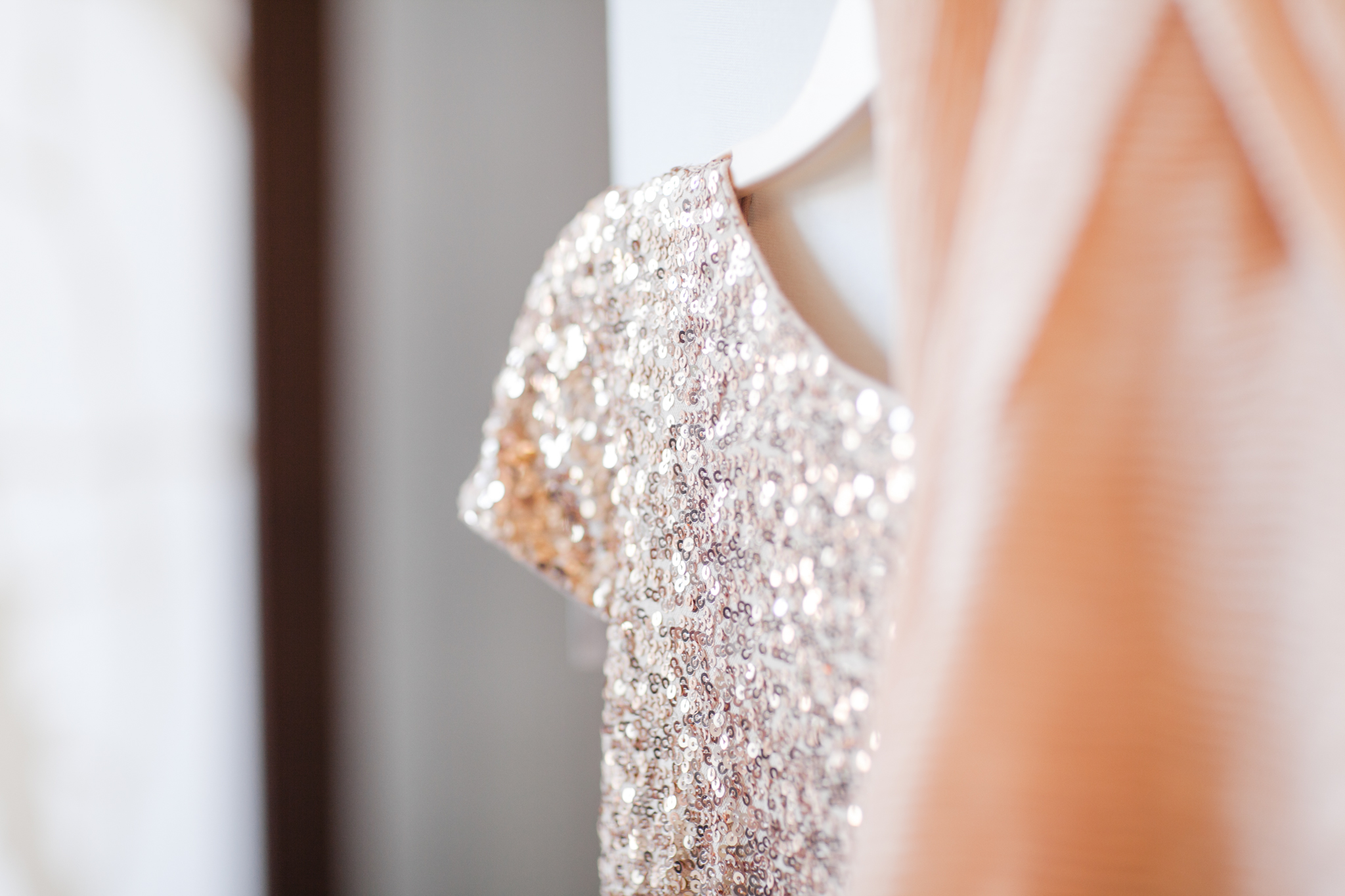 blush sequined bridesmaid dress with sleeves and a shawl | Jessa Anderson Photography | Sixpence Events & Planning | wedding blog | winter wedding