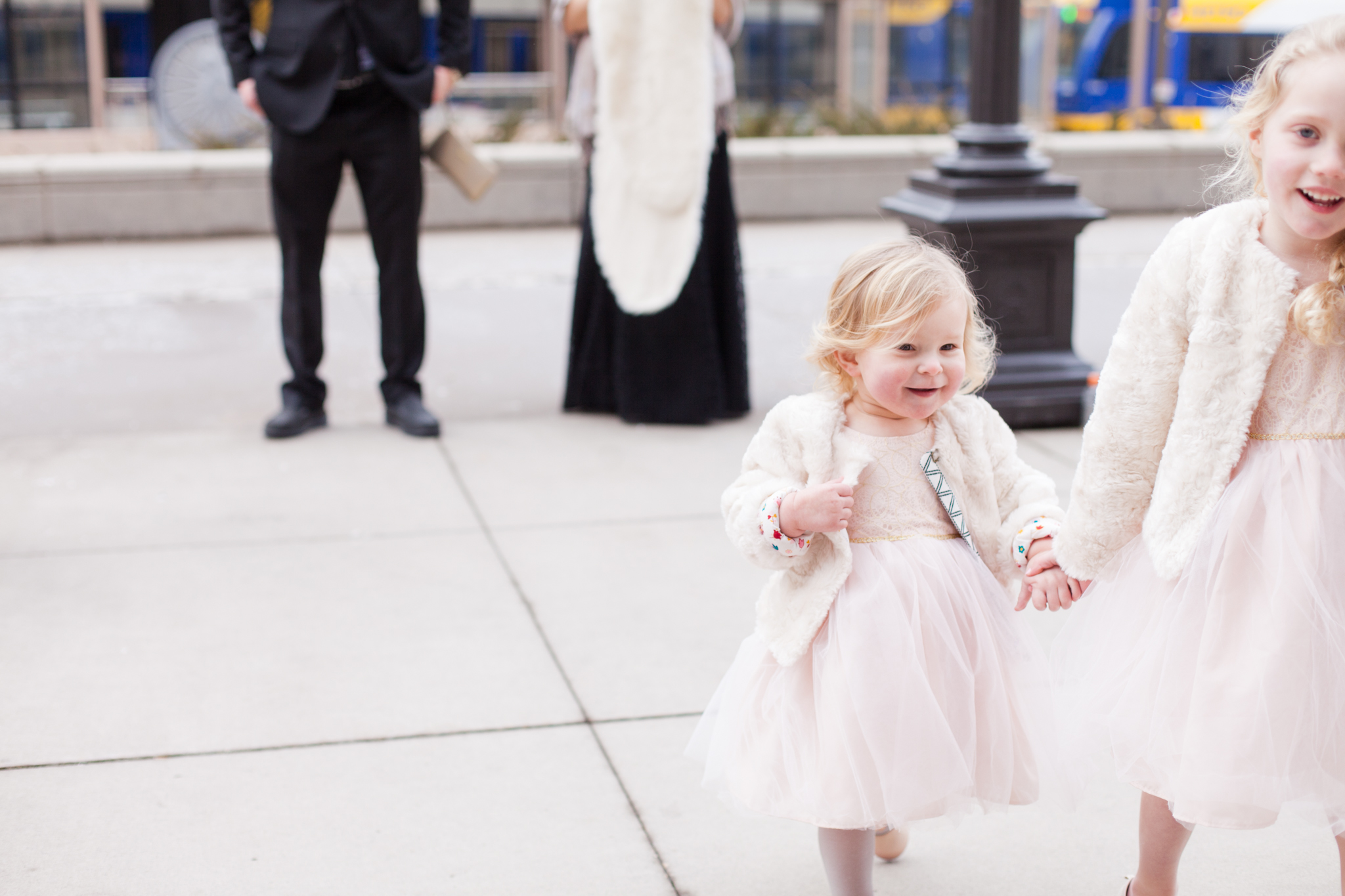 flower girl with fauz wrap and tulle skirt  | Sixpence Events & Planning | Jessa Anderson Photography | winter wedding