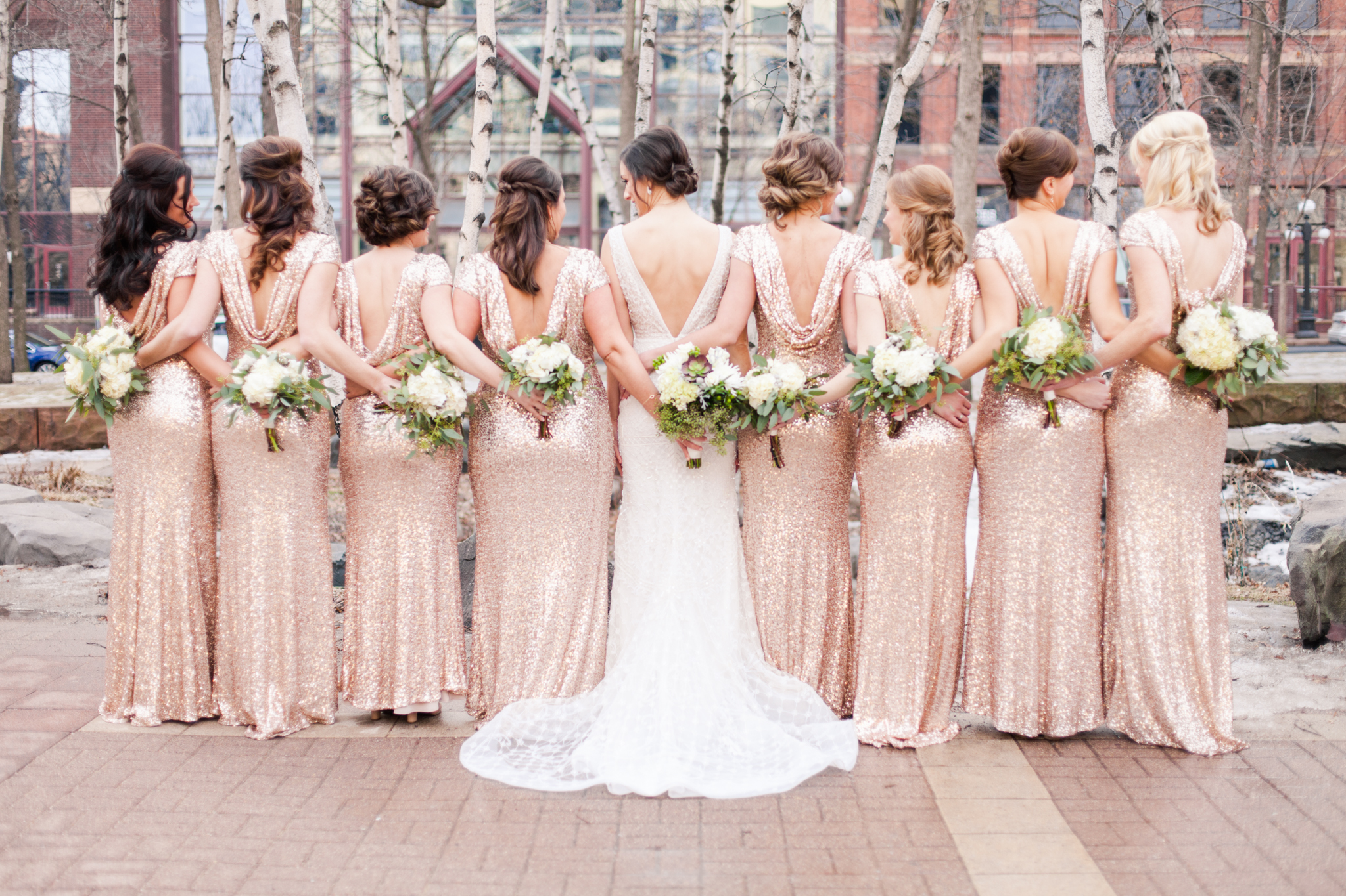 blush sequin bridesmaids dresses with scoop back neck and succulent bouquets  | Sixpence Events & Planning | Jessa Anderson Photography | winter wedding