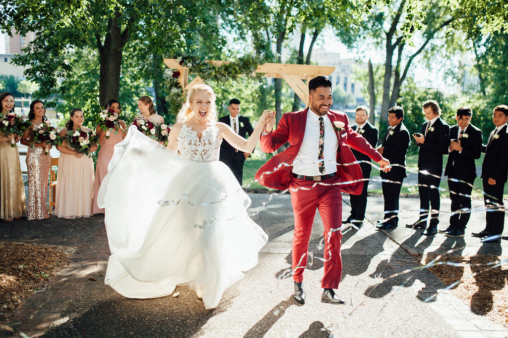 just married congratulations! | kabuki streamers  | Aaron T Photography | Nicollet Island Pavilion | Sixpence Events & Planning wedding blog