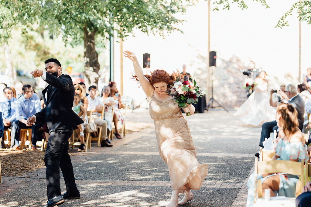 forever the office processional  | Aaron T Photography | Nicollet Island Pavilion | Sixpence Events & Planning wedding blog