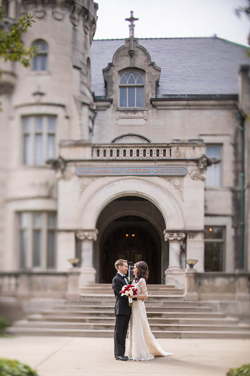 American Swedish Institute for first look | bride with tiara and lace sleeves | Brian Bossany Photography | Sixpence Events & Planning wedding blog and day of coordinating